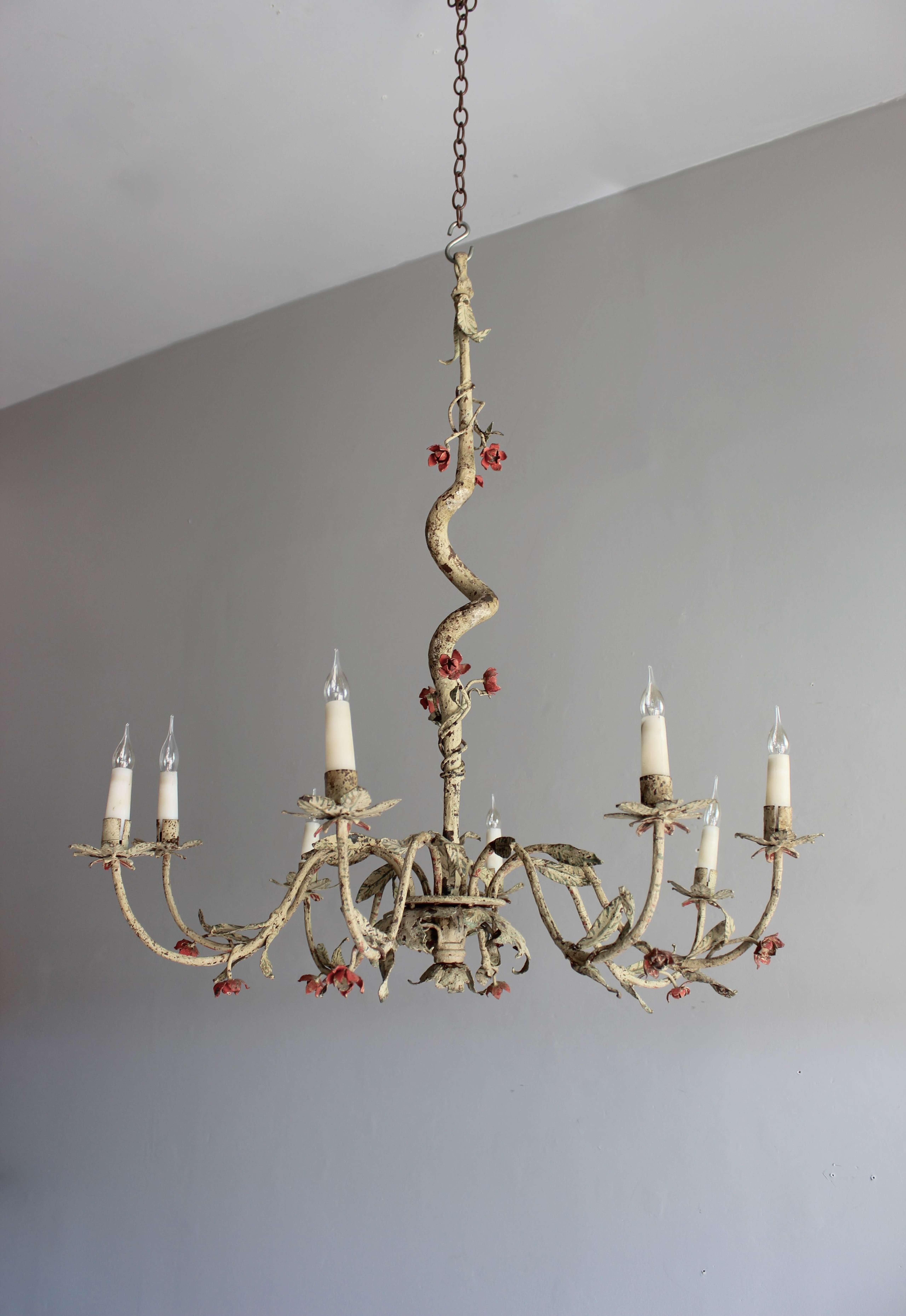 Painted Italian naturalistic chandelier