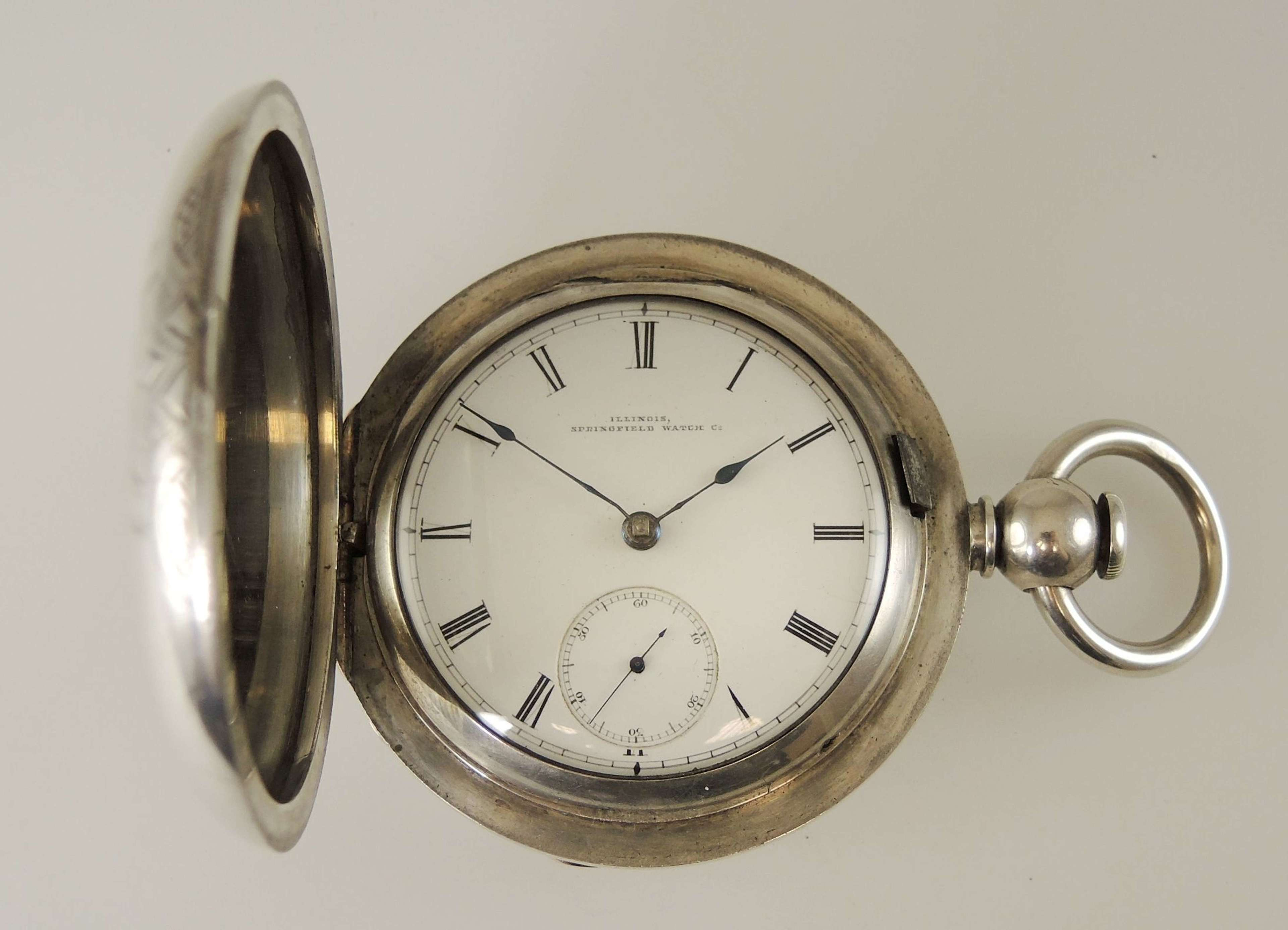 Massive 6 Ounce Silver Hunter pocket watch by Illinois c1872