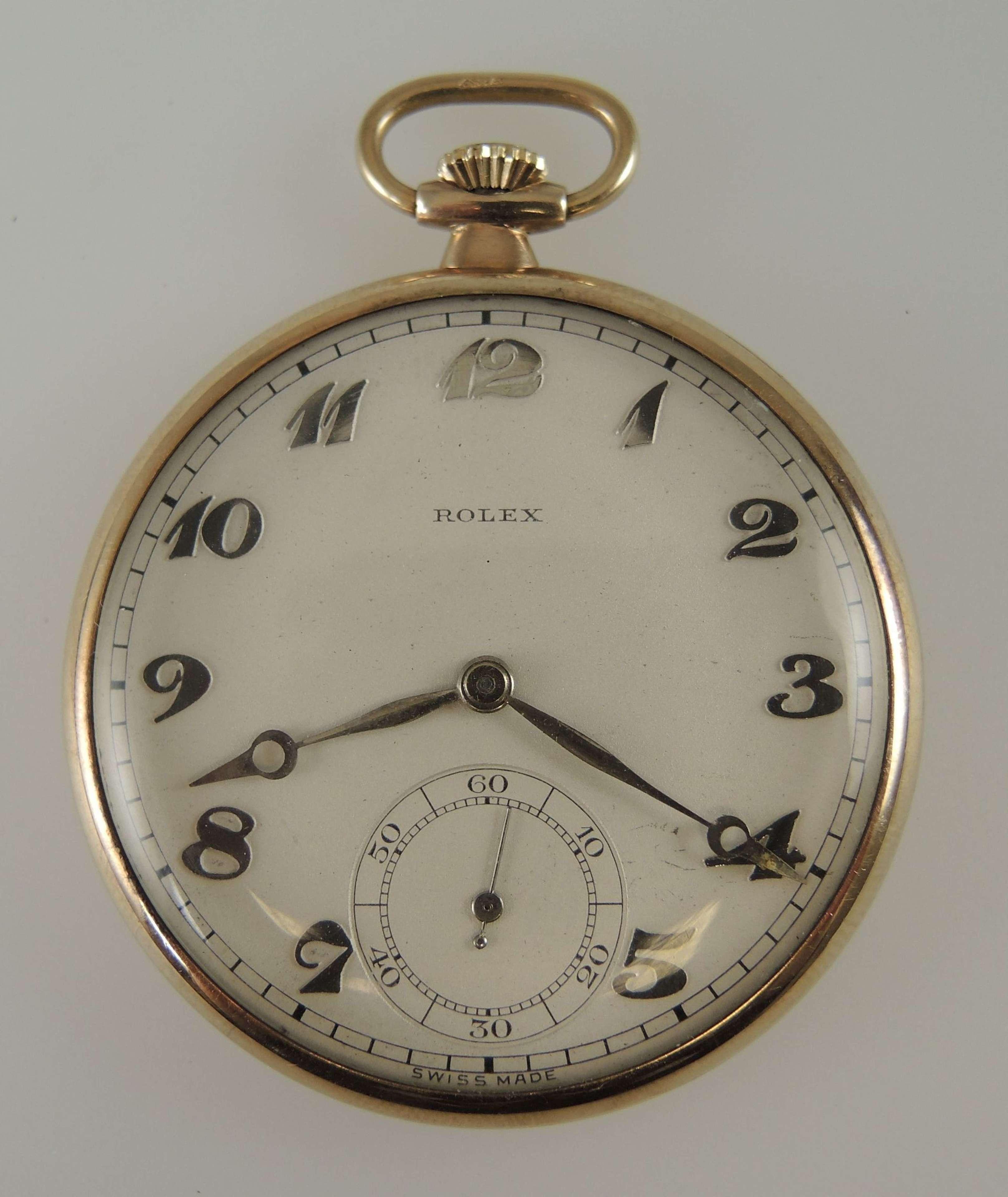 Solid 9K gold Rolex pocket watch c1920