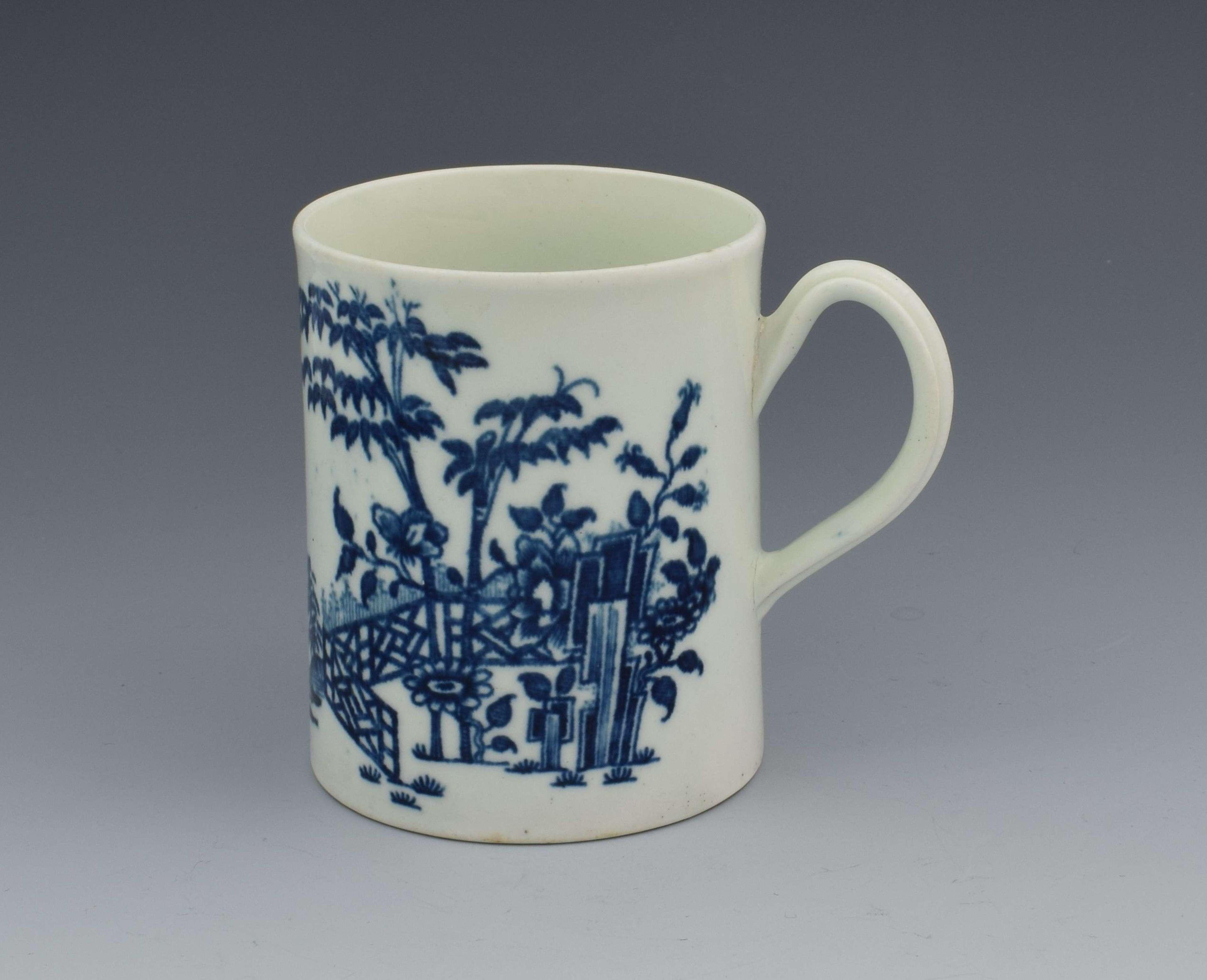 First Period Worcester Plantation Pattern Mug c.1770