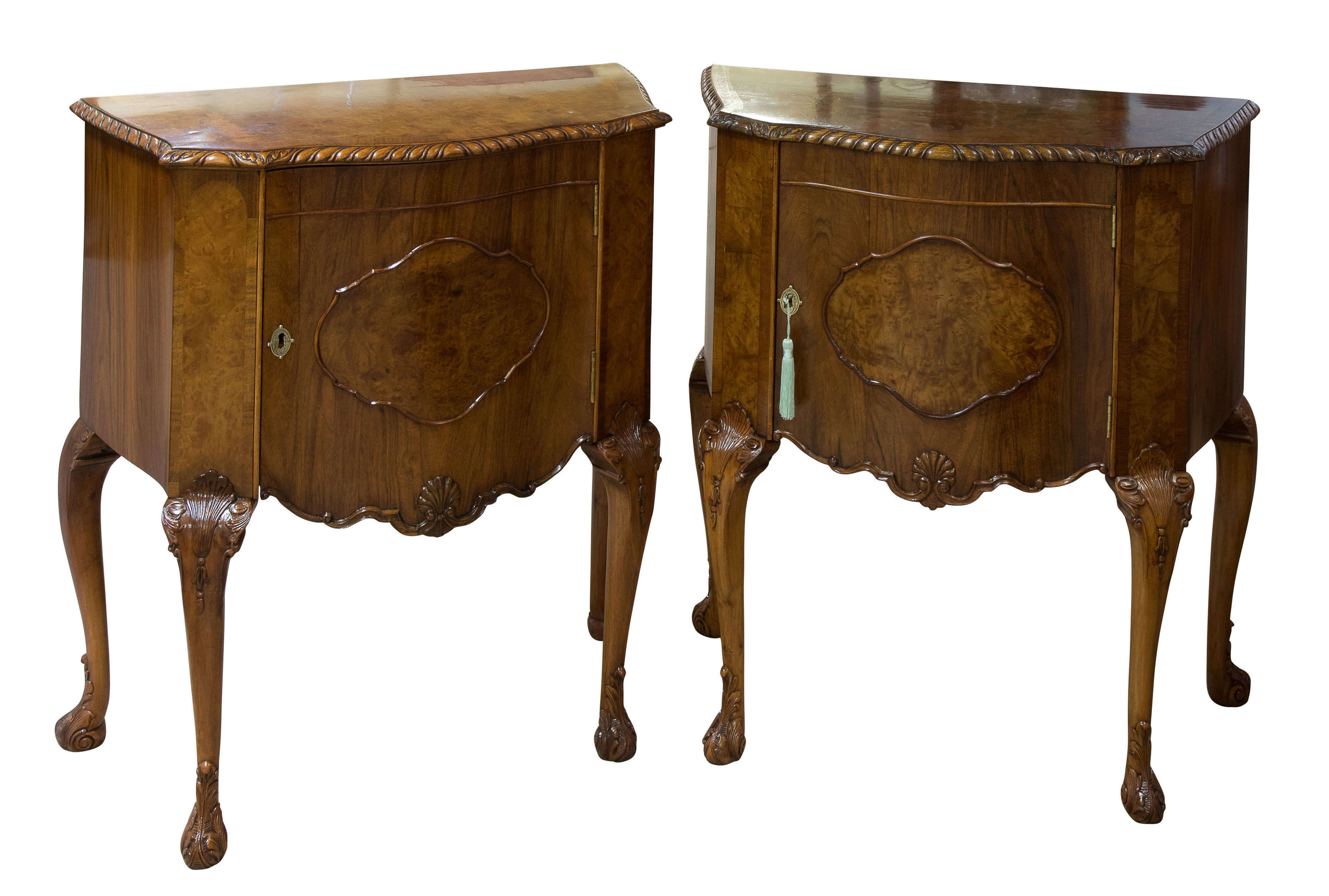 A Pair of Walnut Bedside Tables c1930