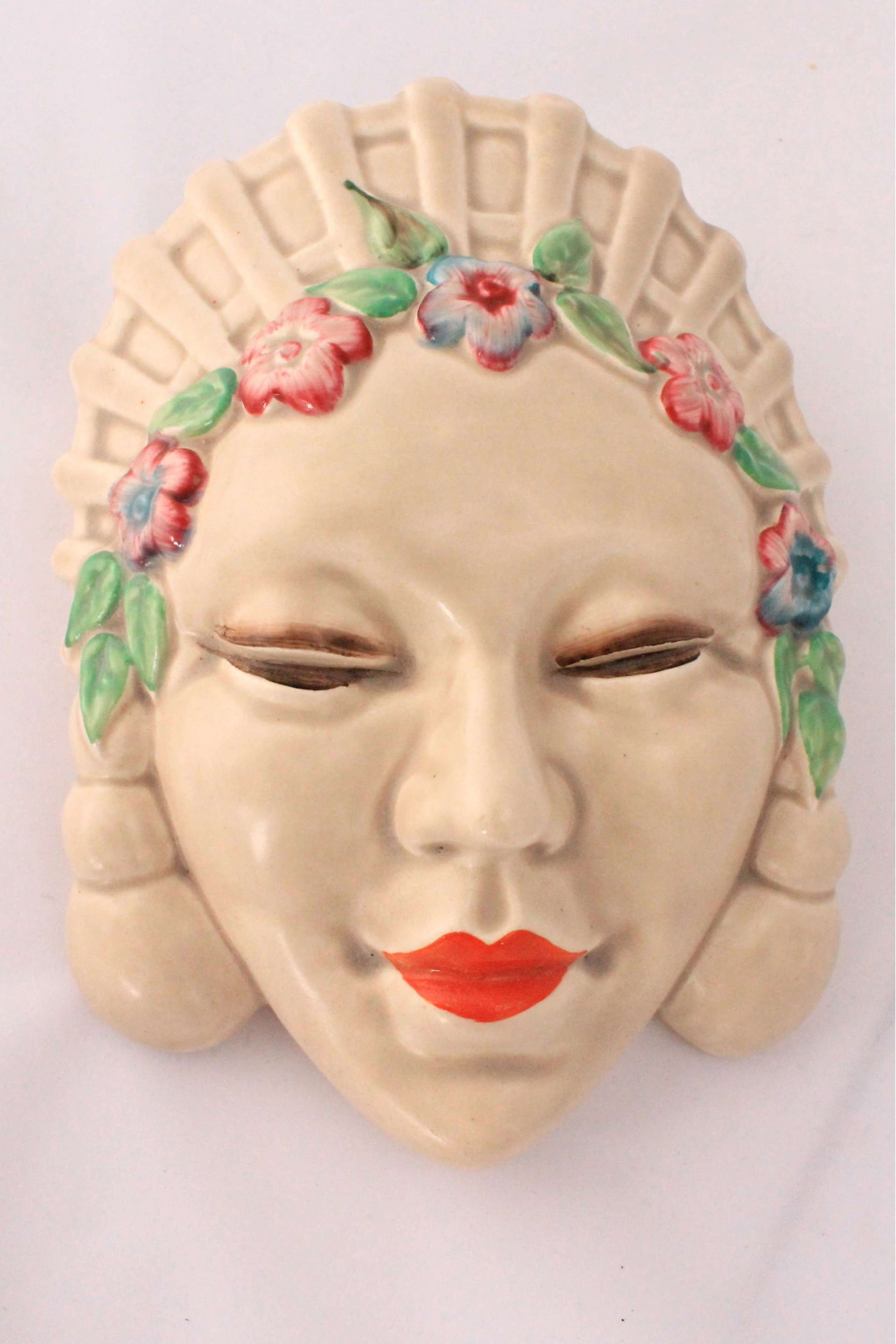 Clarice Cliff 'Marlene' Art Deco mask wall pocket