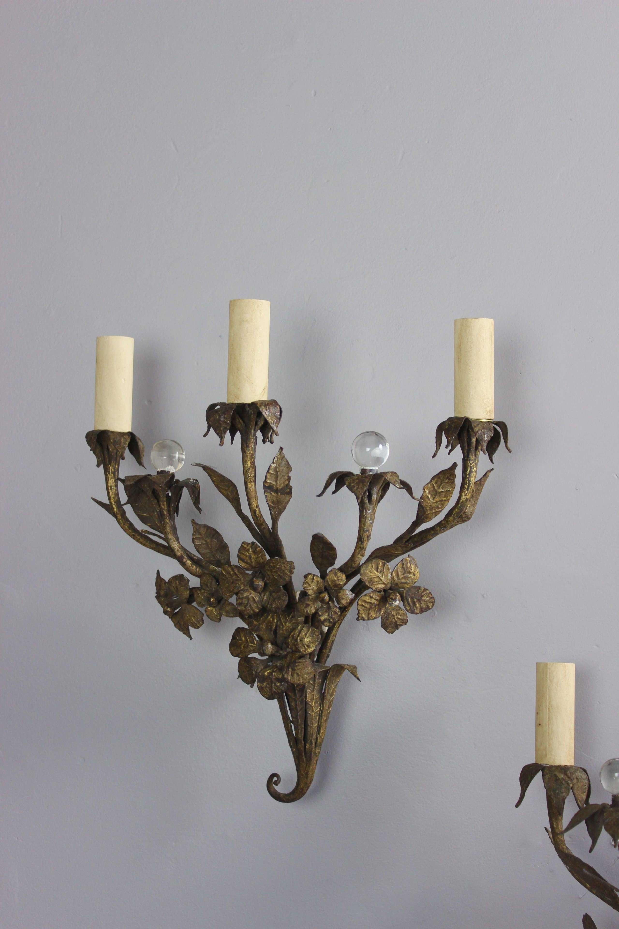Beautiful pair of Italian 3 branch iron sconces
