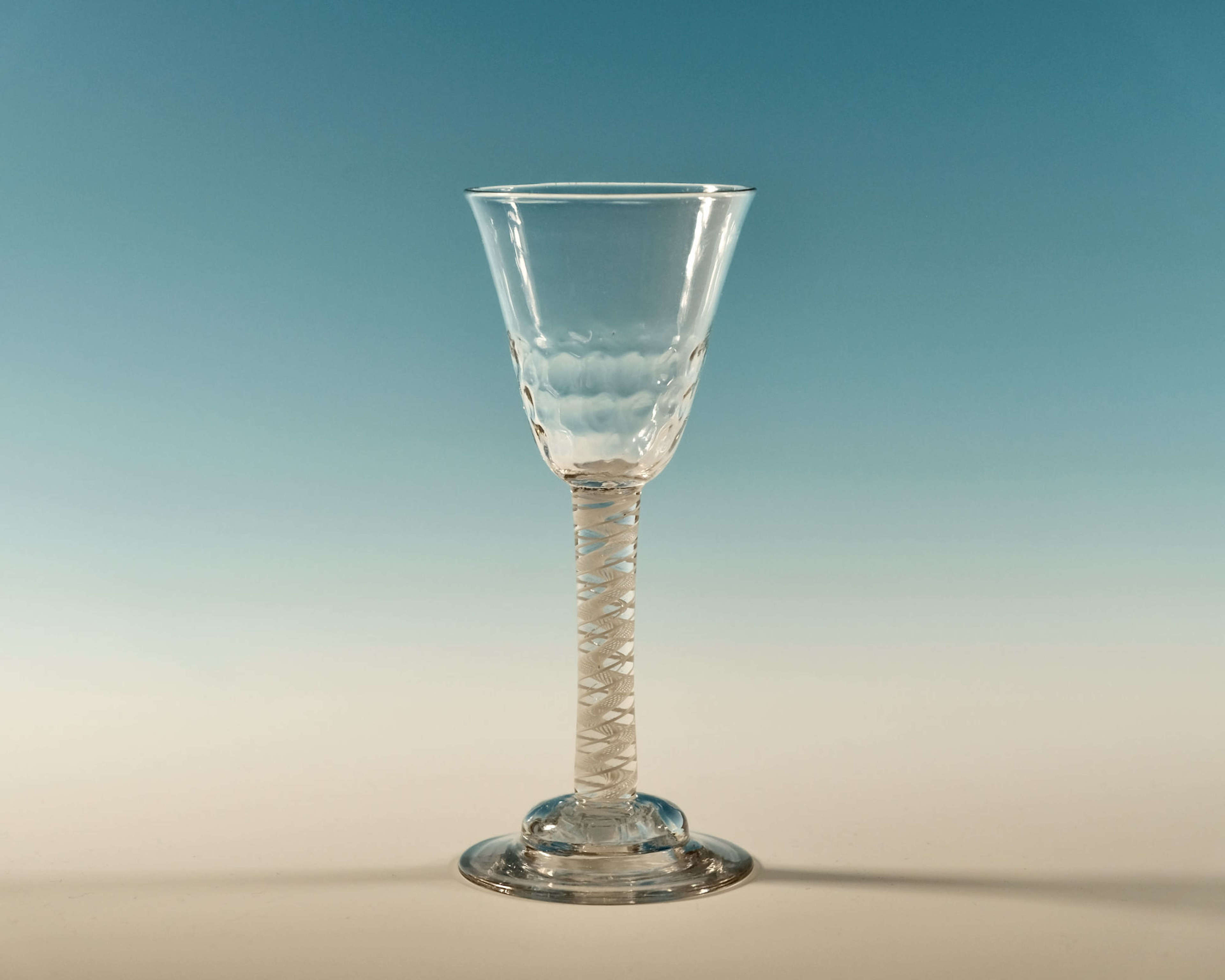 Double series opaque twist wine glass English c1760
