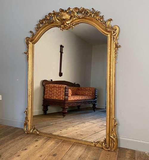 A Large Ornate 19th Century Giltwood Mirror In Antique Large Mirrors