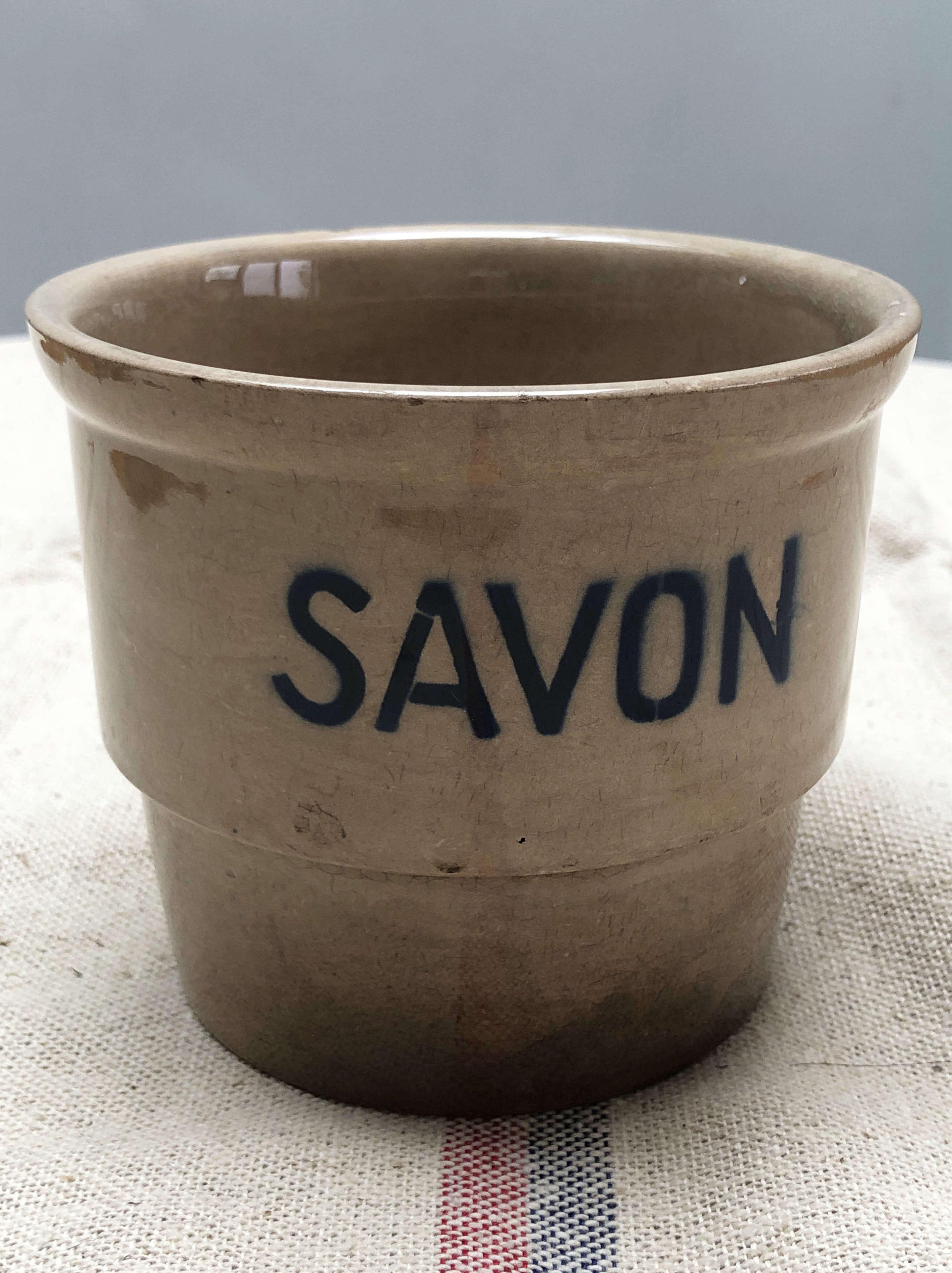 Small French Glazed Soap Jar - Circa 1900