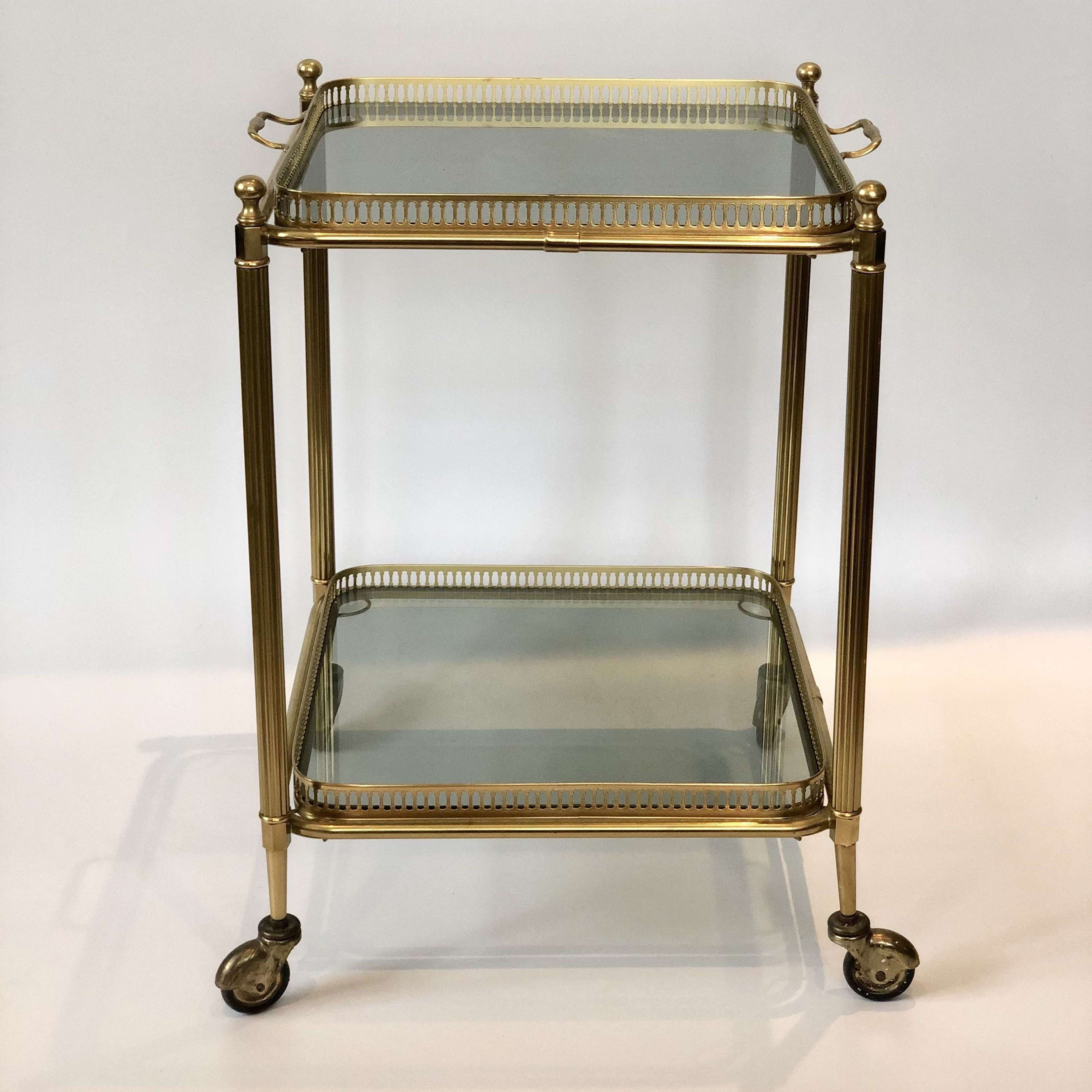 Vintage Square Brass Smoked Glass Cocktail Trolley Bar Cart In Wine Antiques