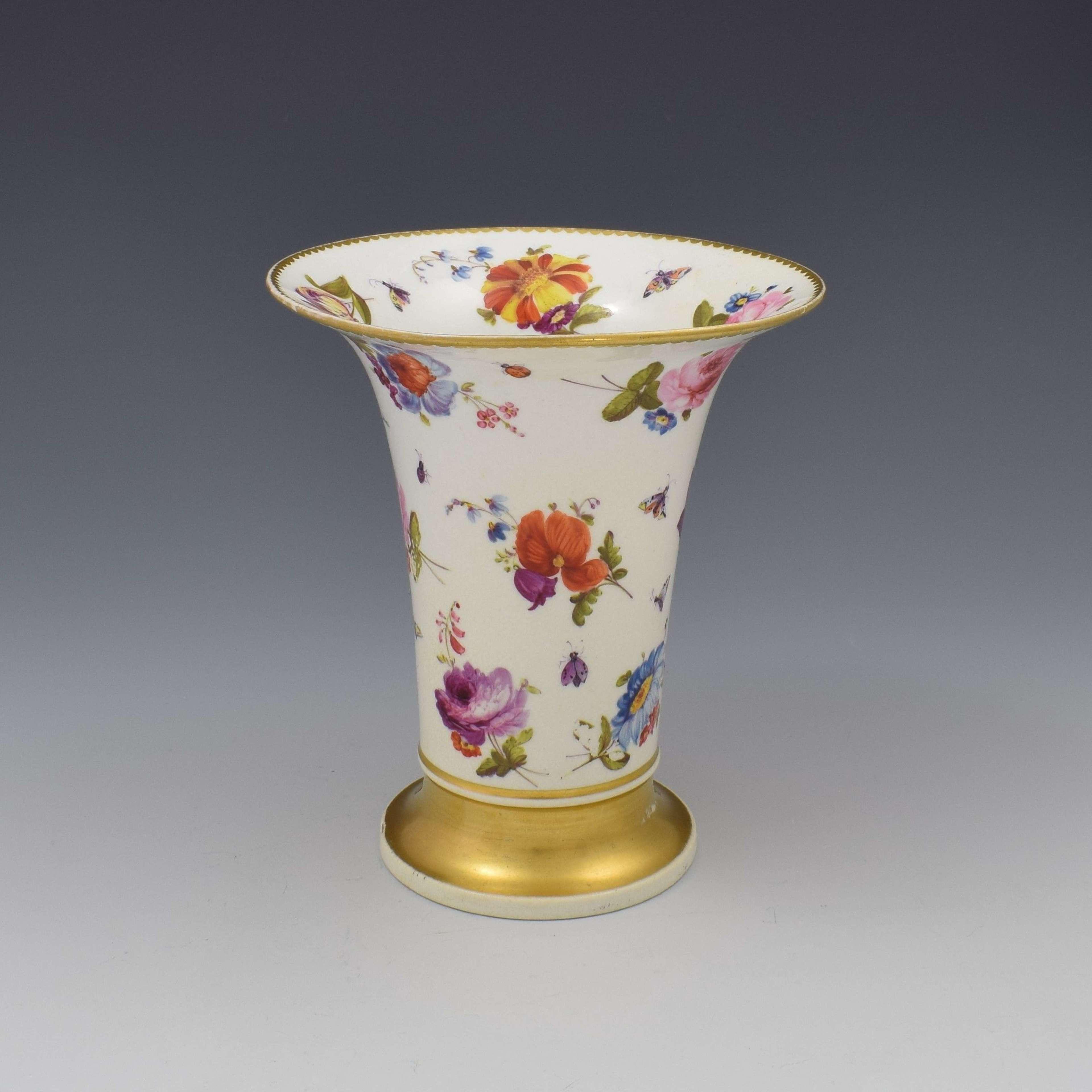 Fine Derby Porcelain Flared Spill Vase Floral Decoration, c.1820