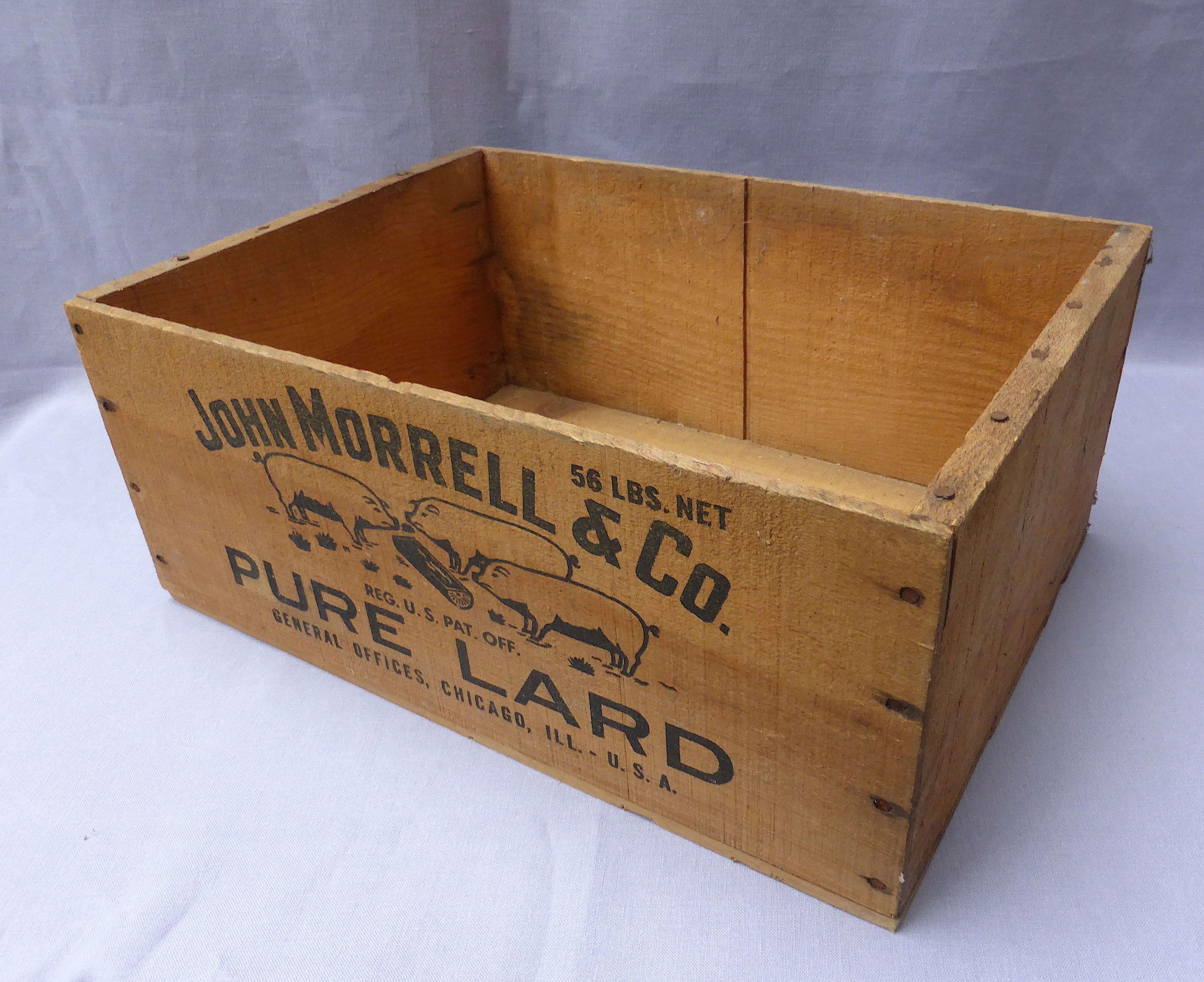 Vintage John Morrell lard crate