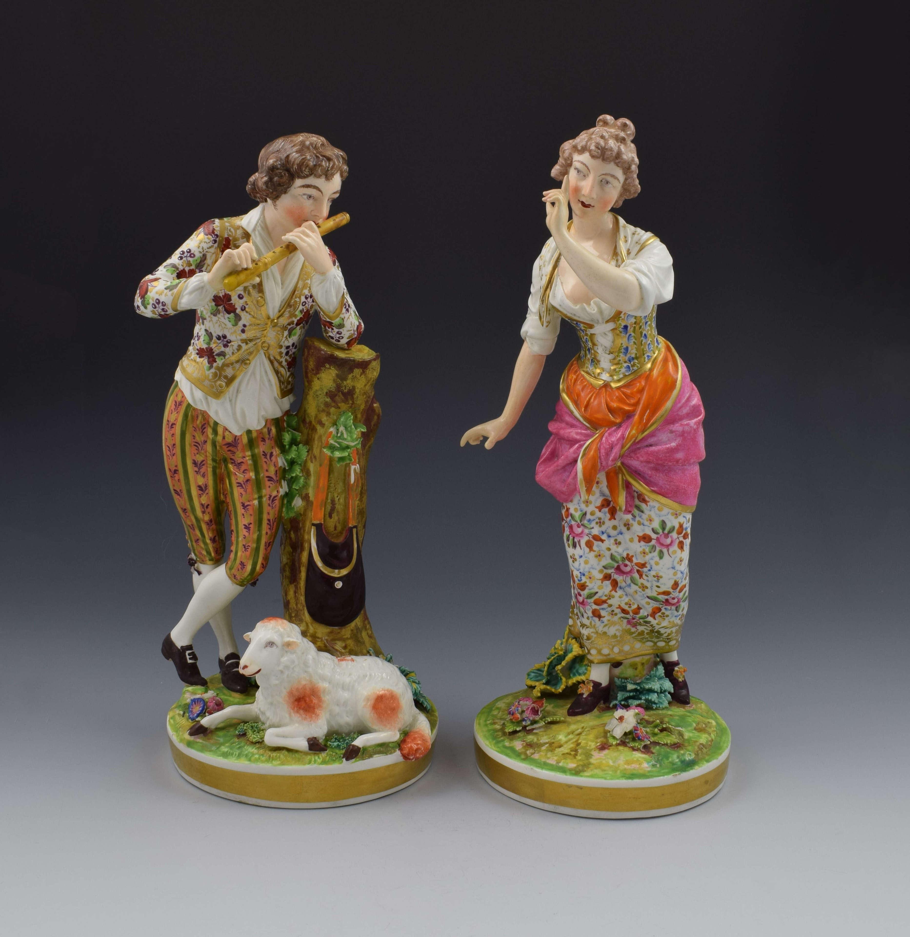 Large Pair Bloor Derby Porcelain Figures Shepherd & Shepherdess N369