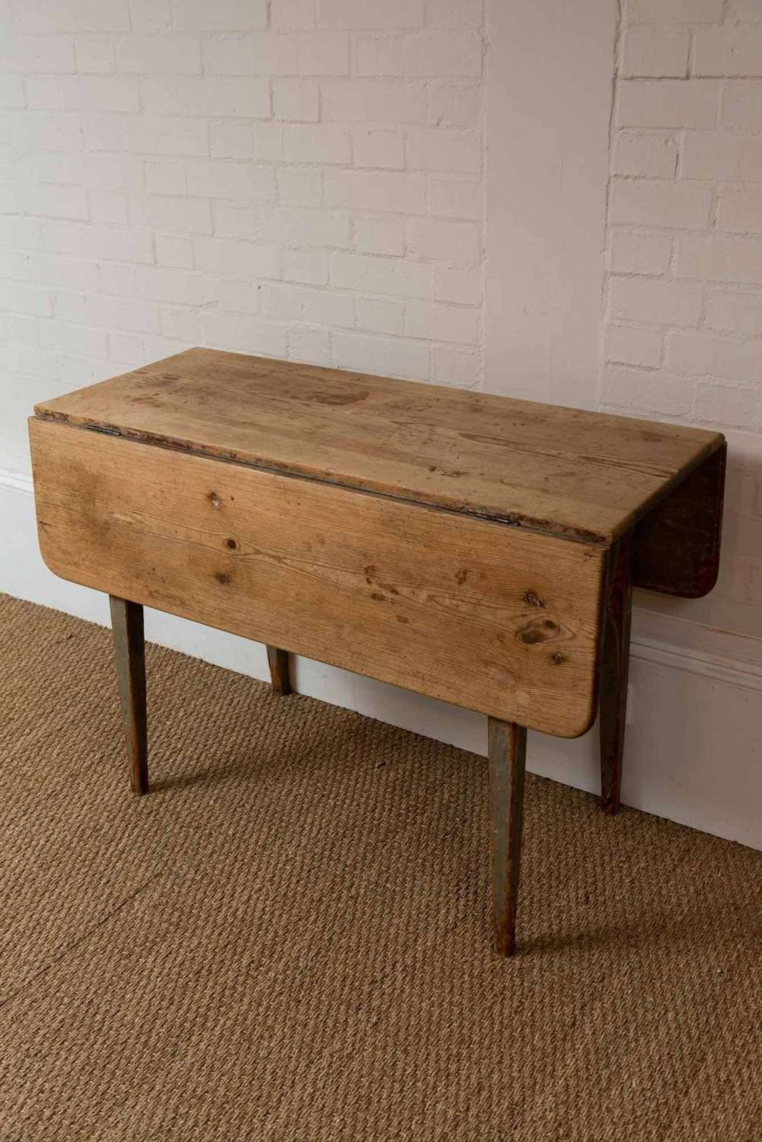 C19th Swedish Pine Drop Leaf Table In Antique Pine Tables