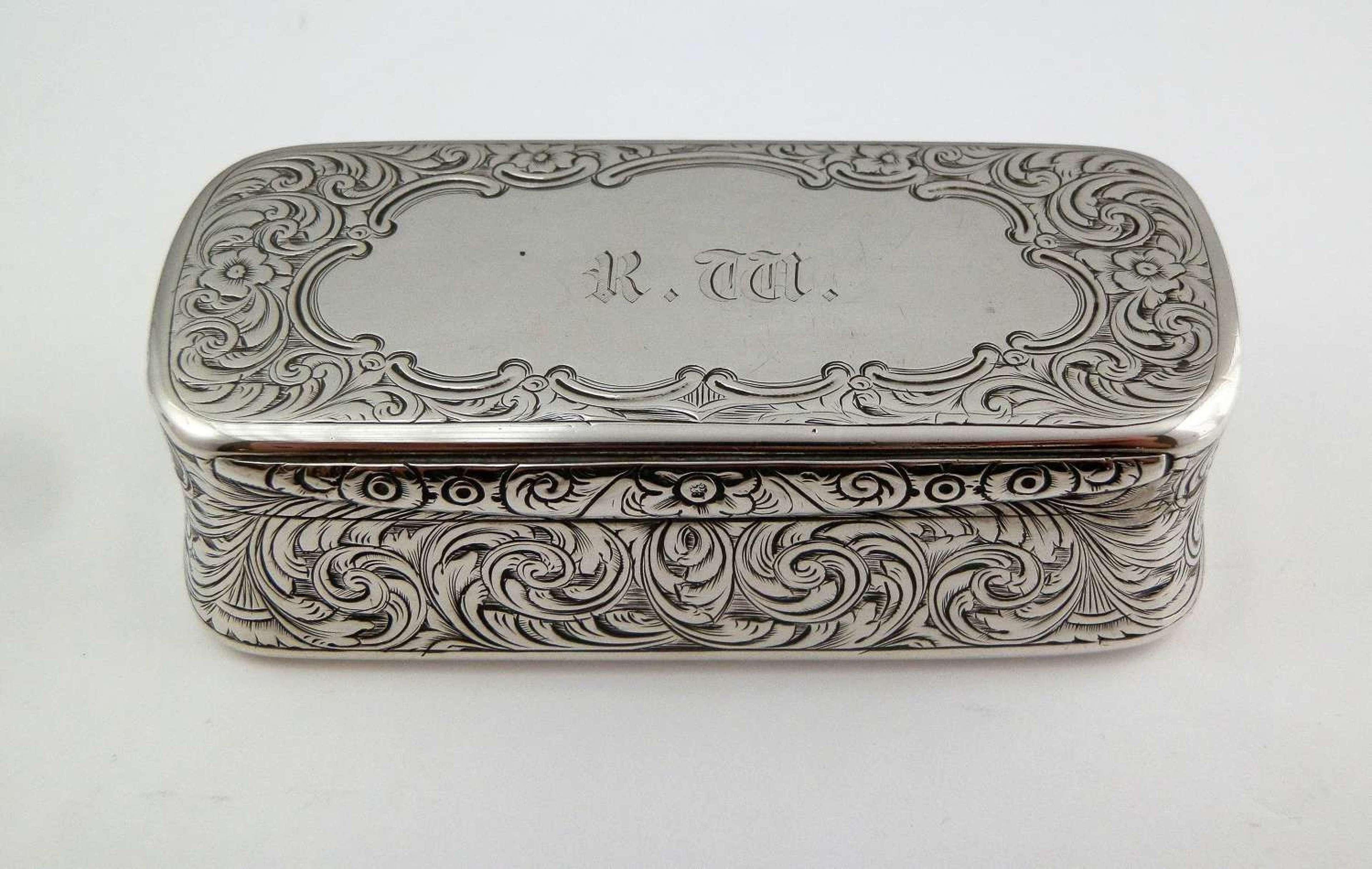 Victorian silver table snuff box, Birmingham 1863
