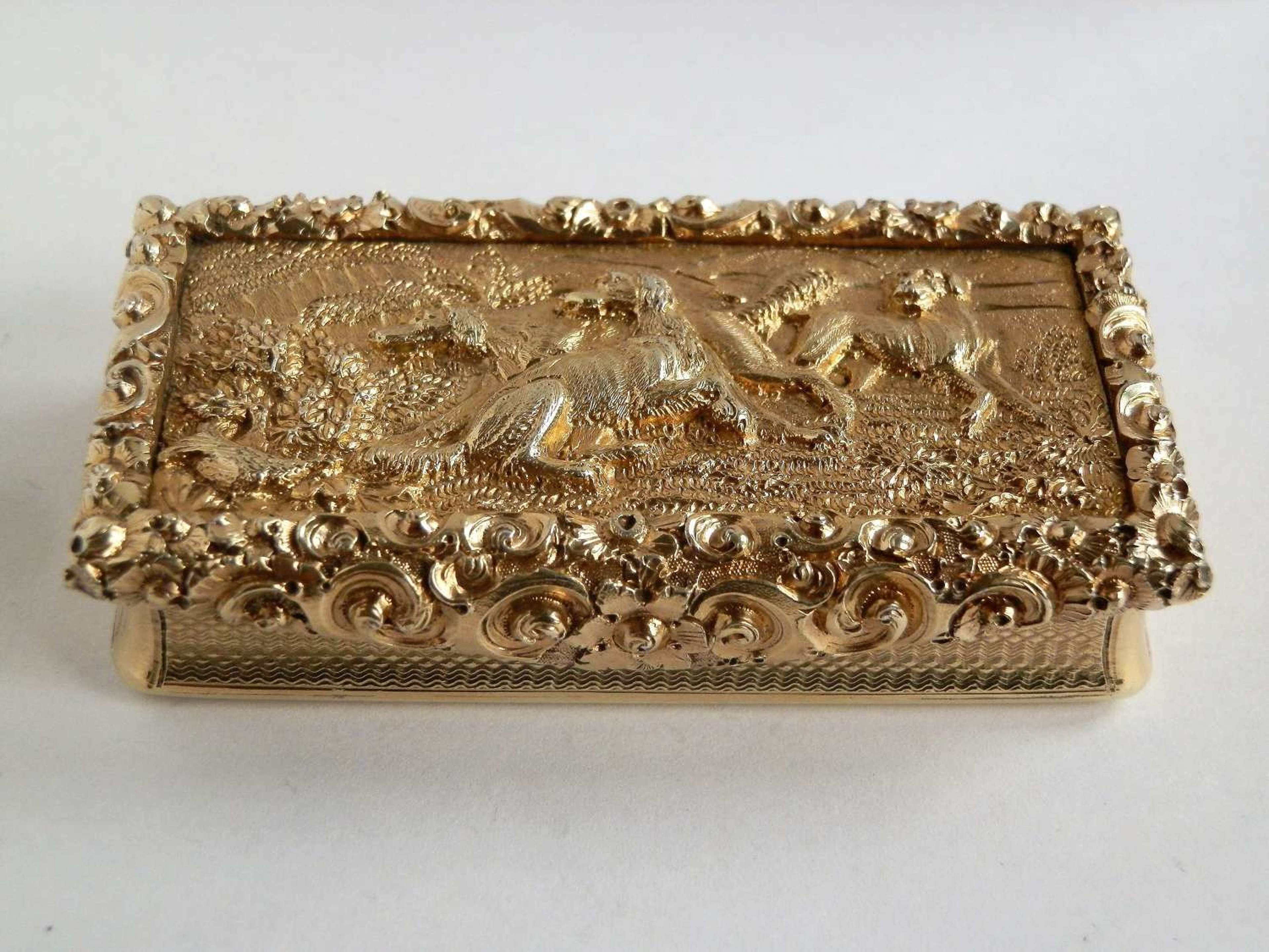 A fine William IV silver gilt snuff box, Wm Simpson, 1834