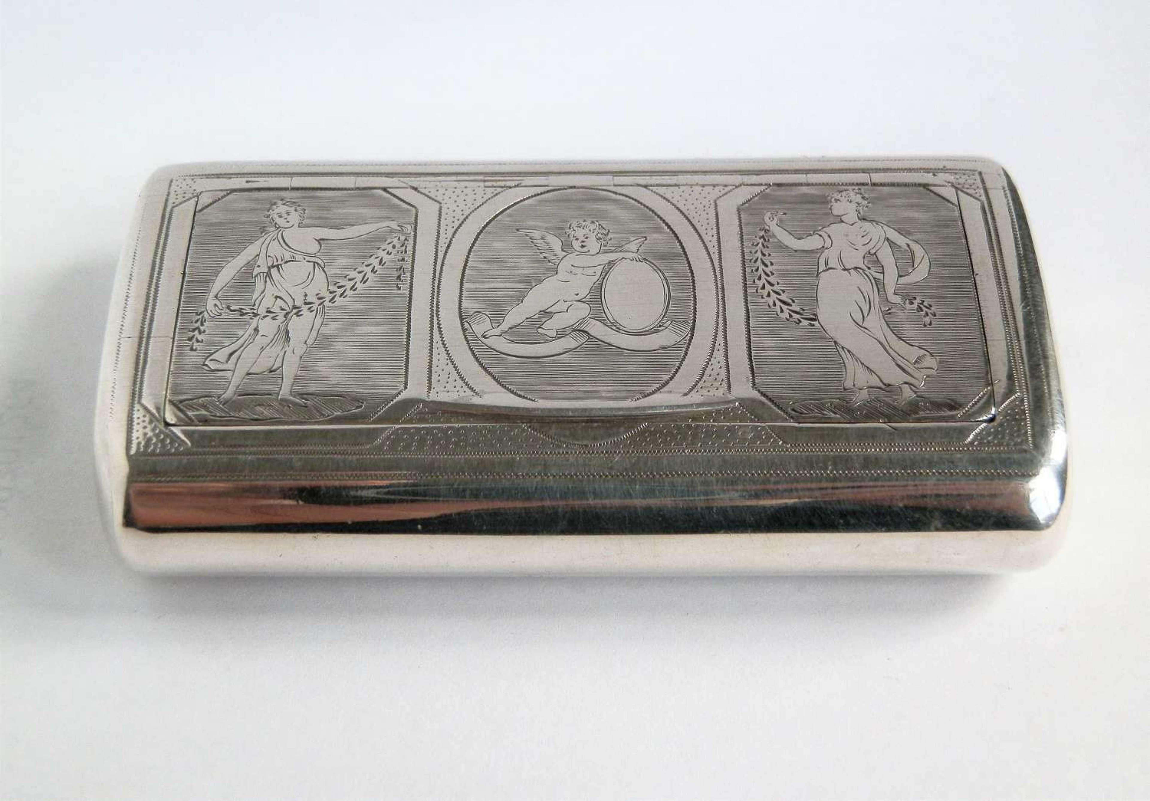 A George III neoclassical silver snuff box, London, 1802