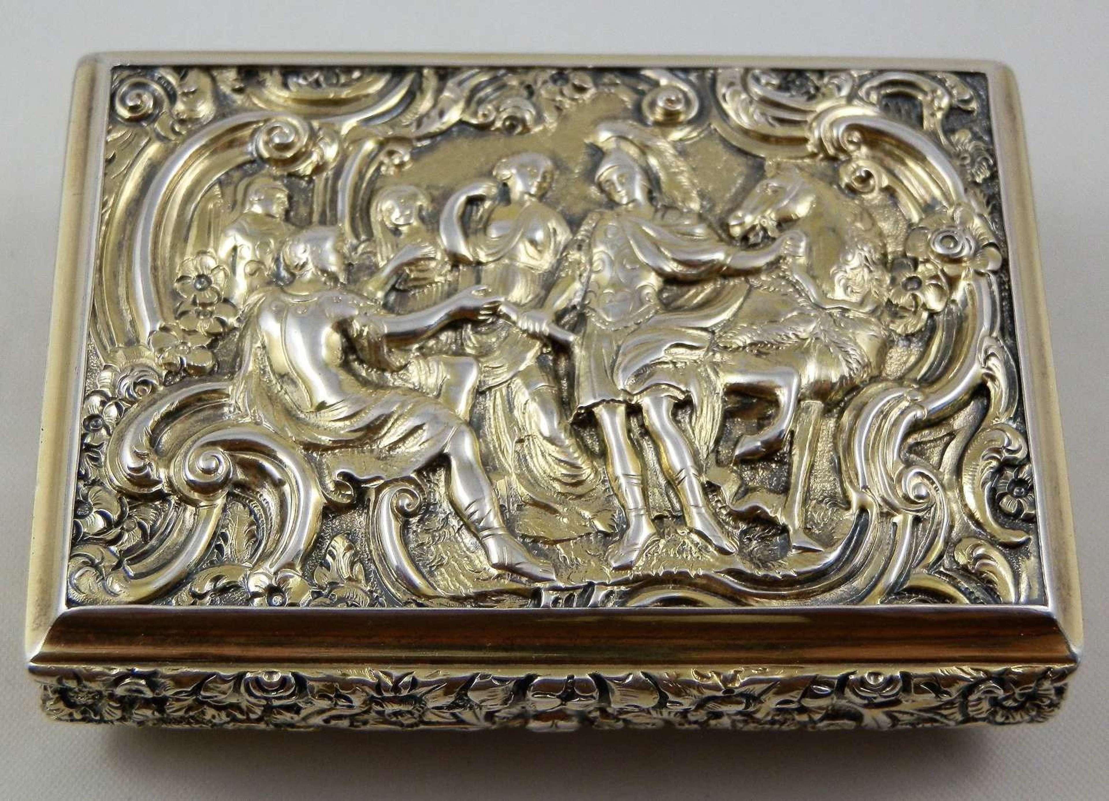 A George IV silver gilt table snuff box, Thomas Shaw, 1827