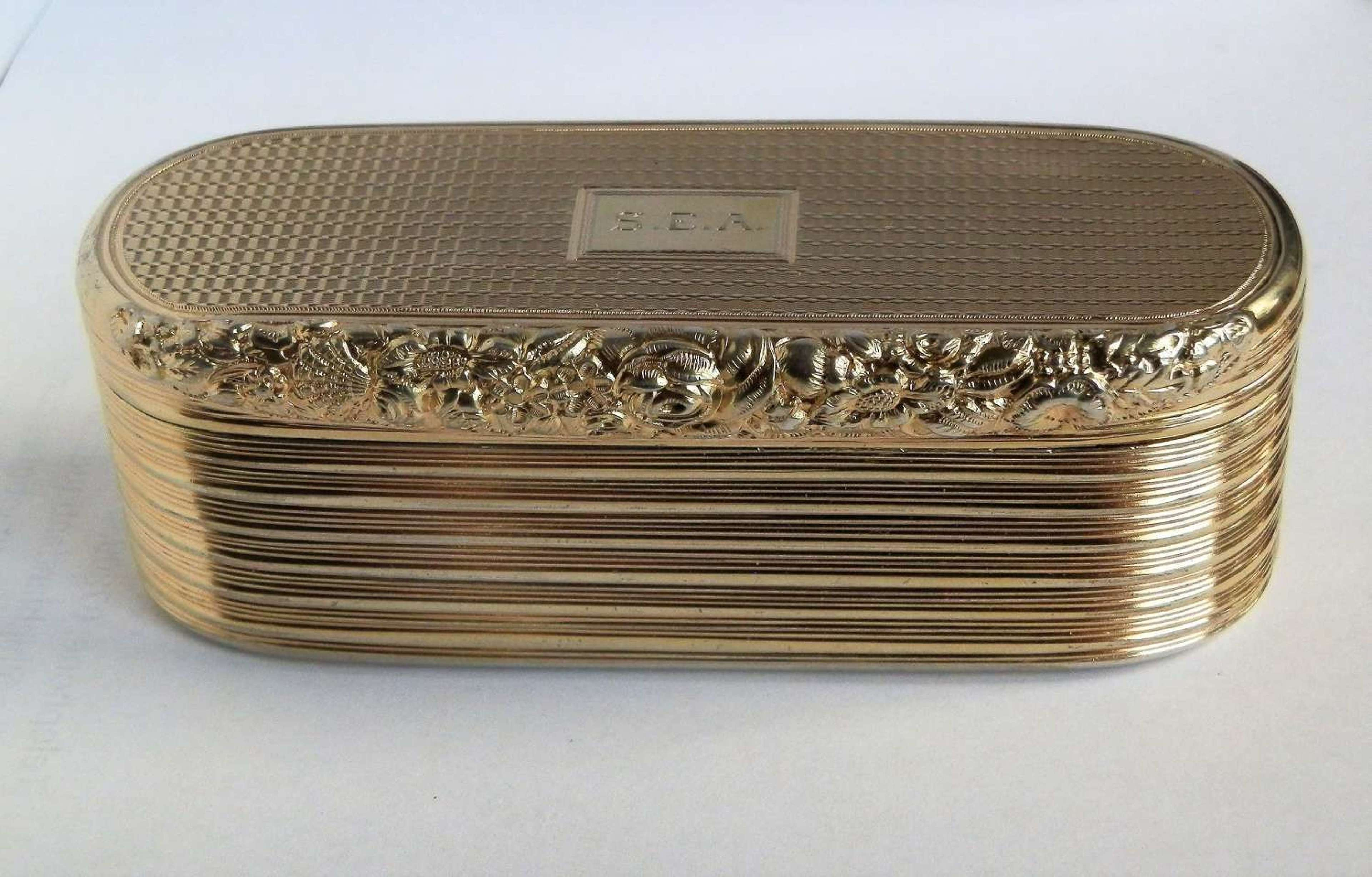 A large George III silver gilt snuff box, William Edwards, 1818