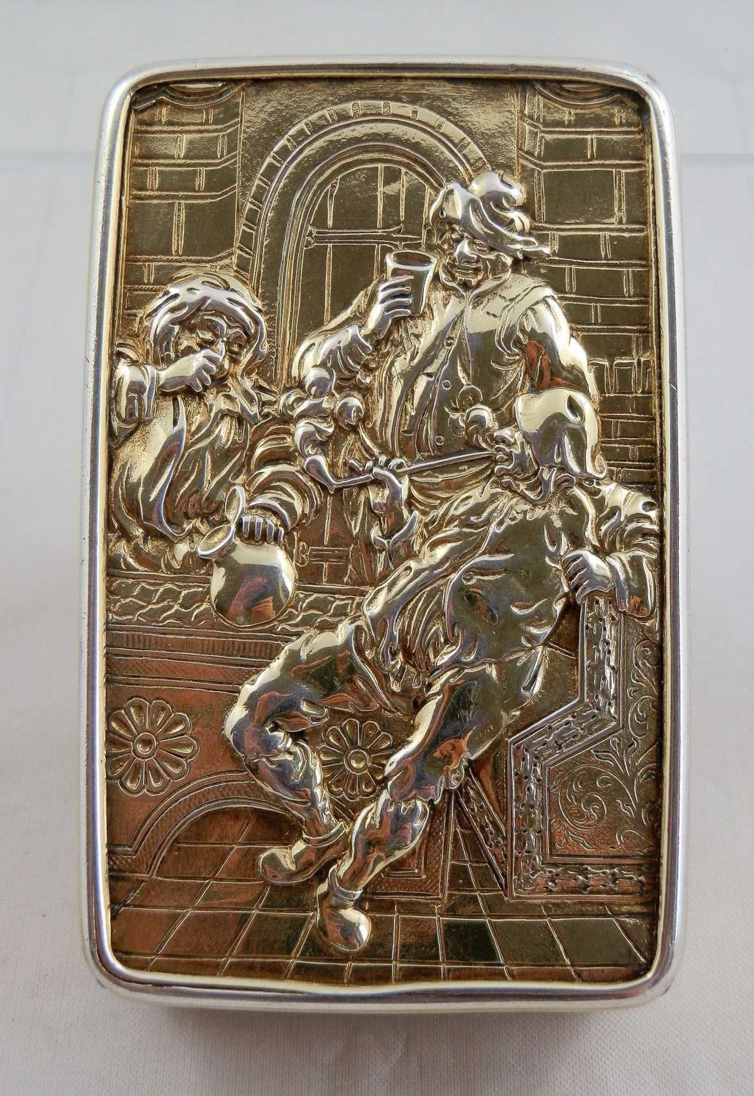 A rare George III silver gilt table snuff box. Alex. Strachan 1812