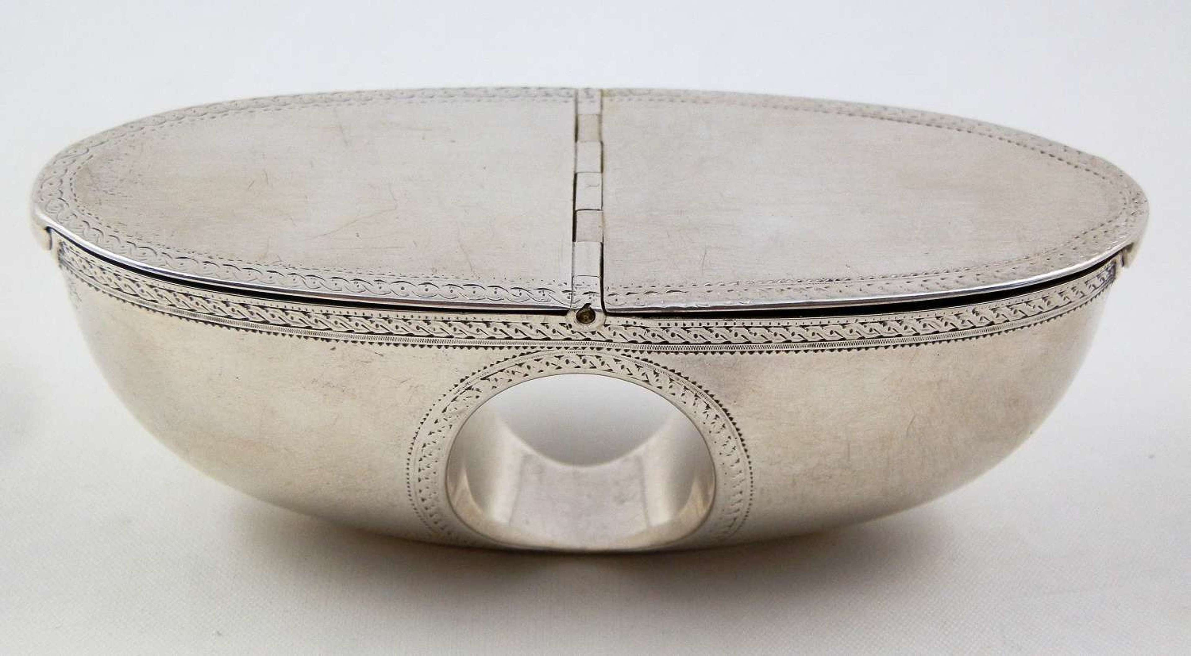 A very rare George III silver thumb hole snuff box, c.1780
