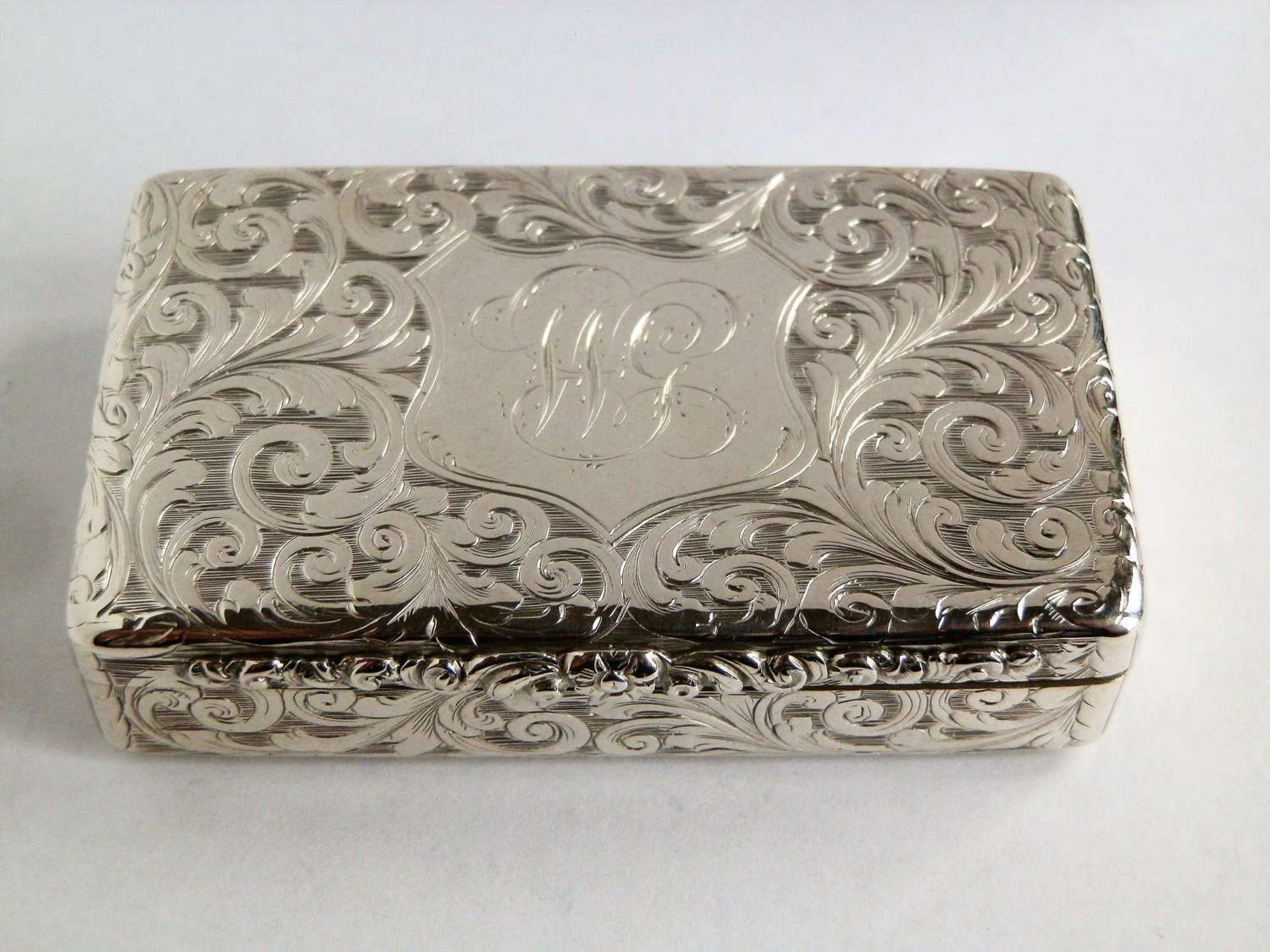 An early Victorian silver pocket snuff box, Edward Smith 1845.
