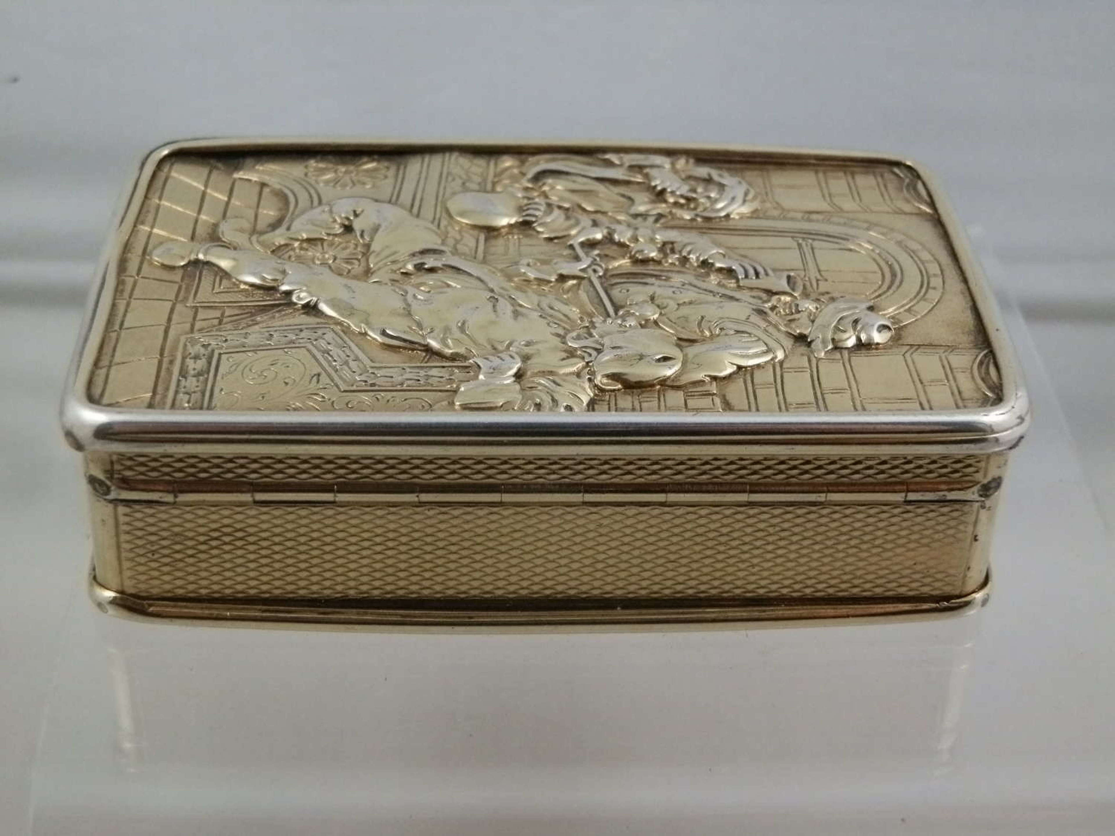 Silver Gilt Table Snuff Box