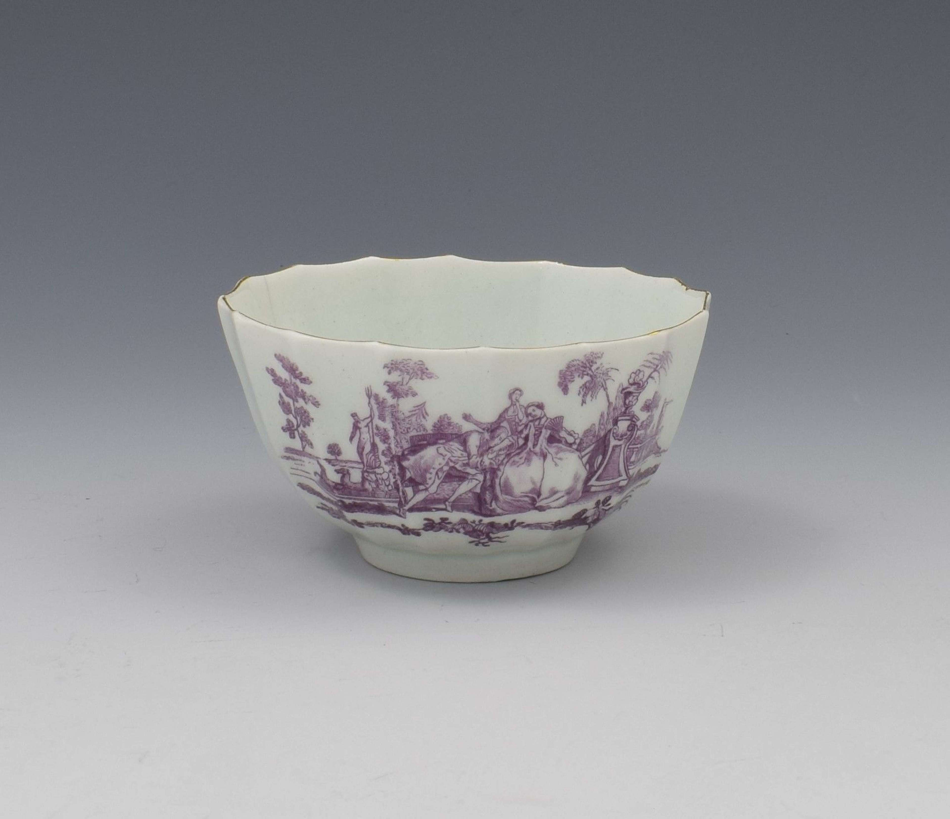 Rare Worcester Porcelain Lilac Printed L'Amour Tea Bowl