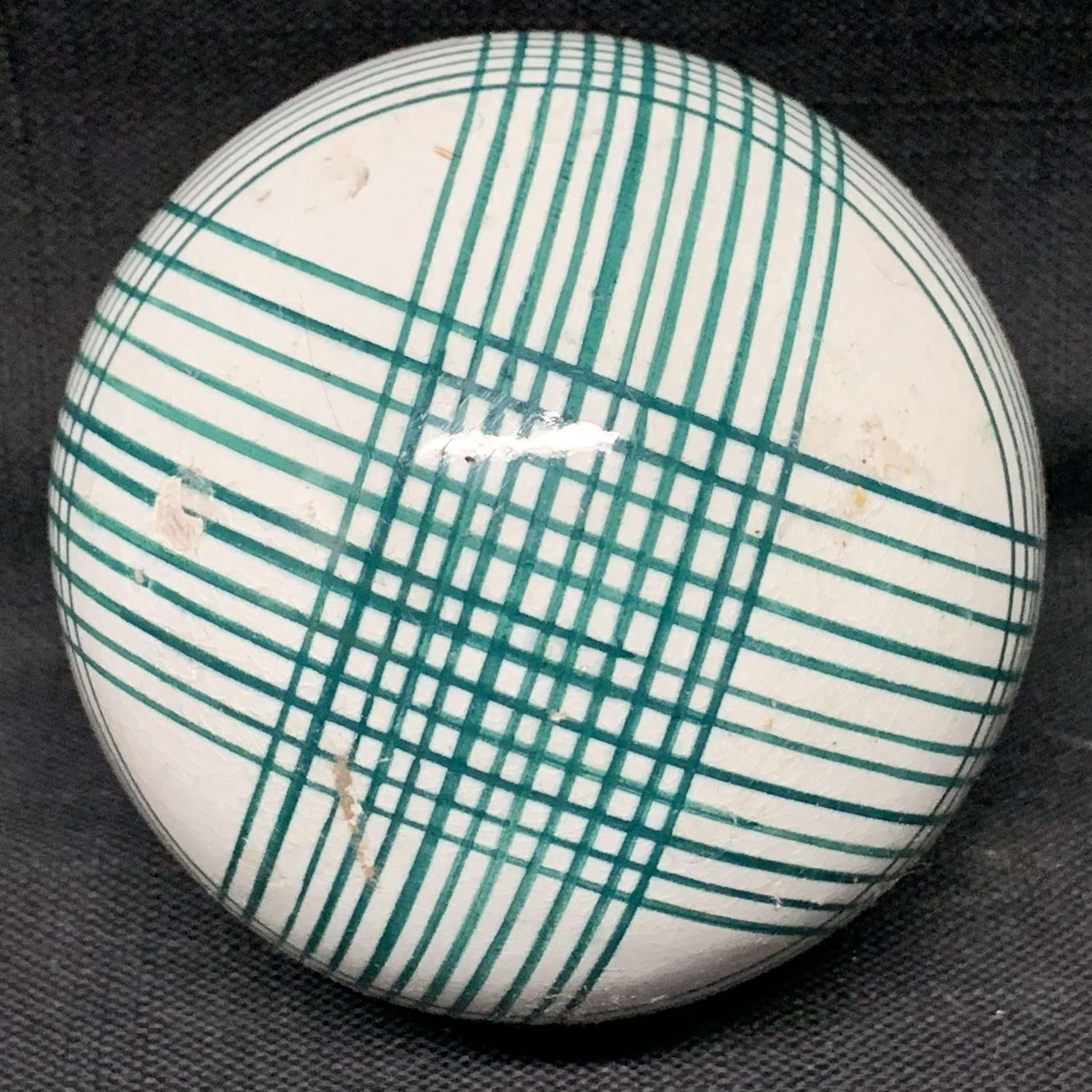 Victorian Ceramic Green Striped Scottish Carpet Ball 1860