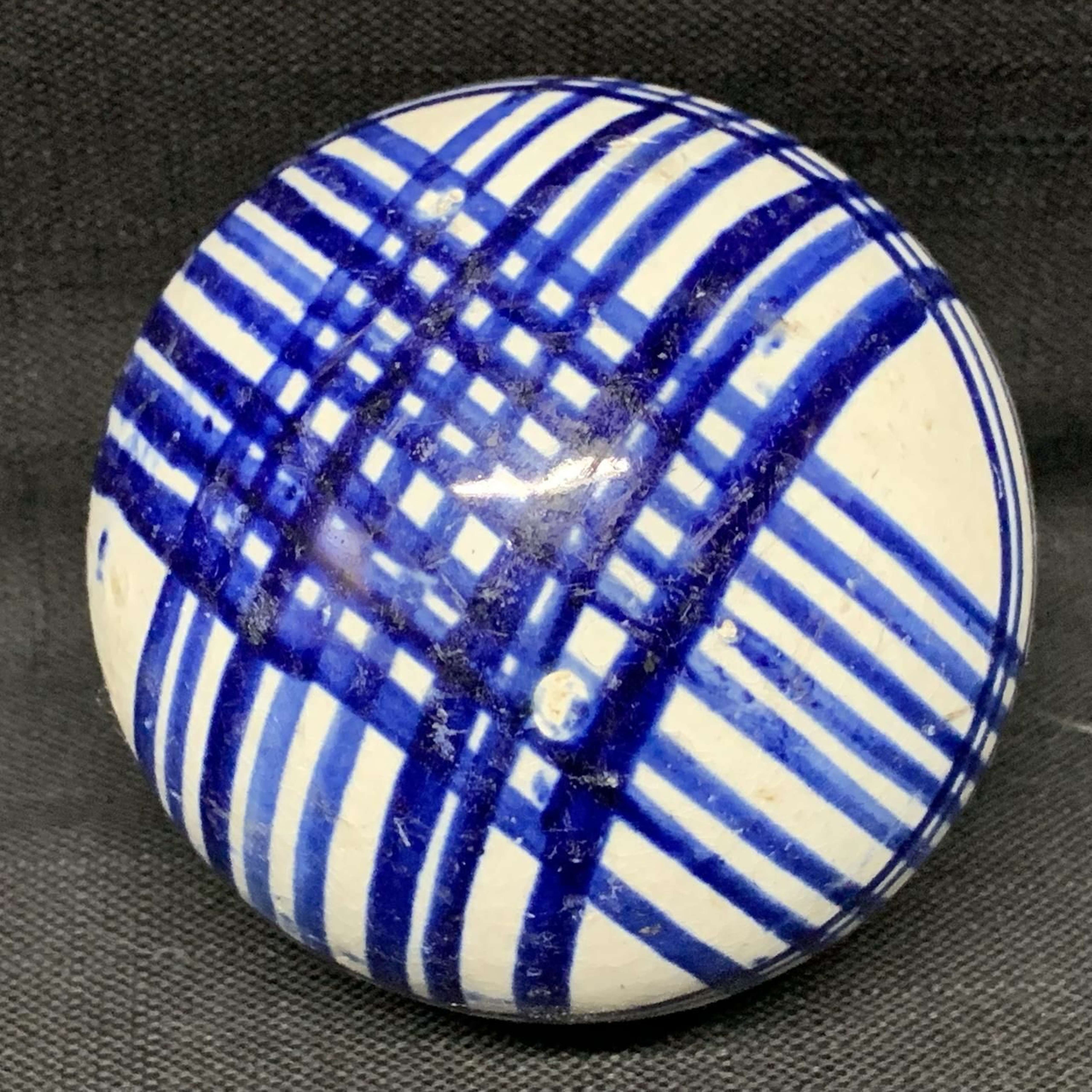 Victorian Ceramic Dark Blue Striped Scottish Carpet Ball 1860