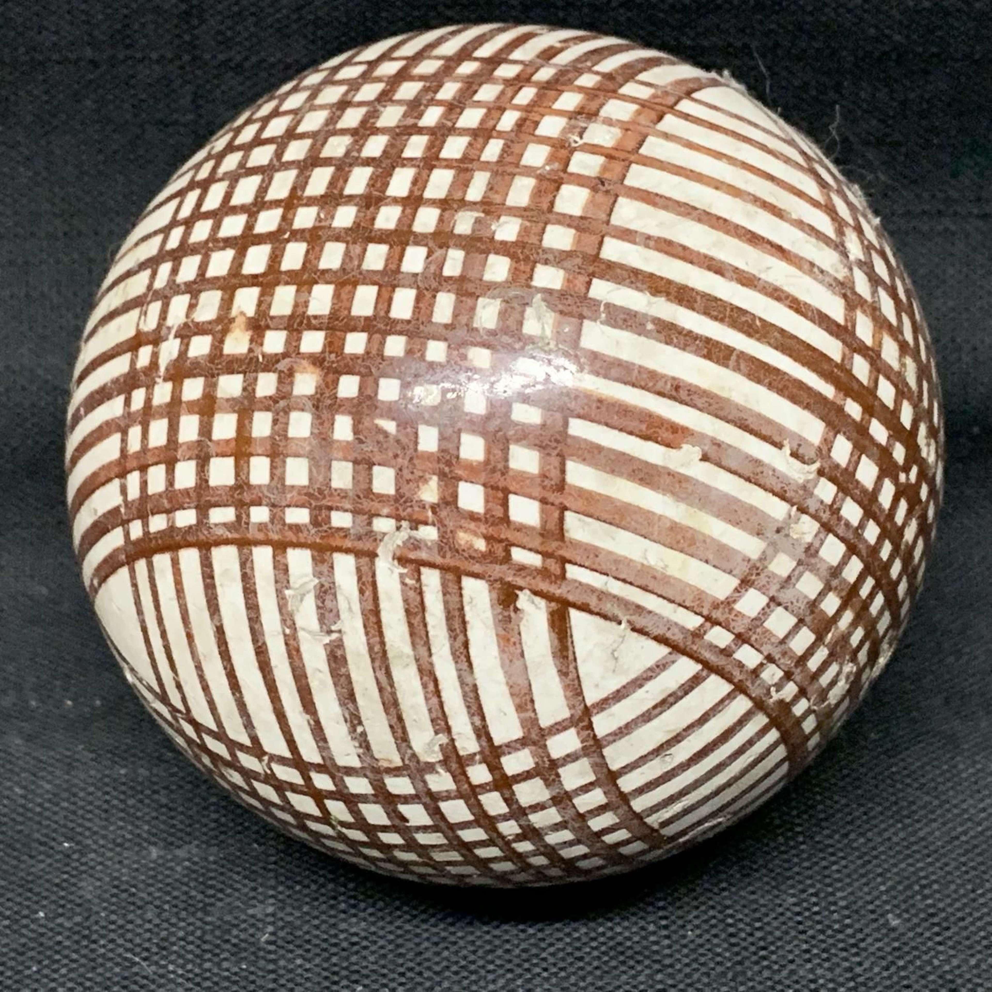 Victorian Ceramic Brown Striped Scottish Carpet Ball 1860