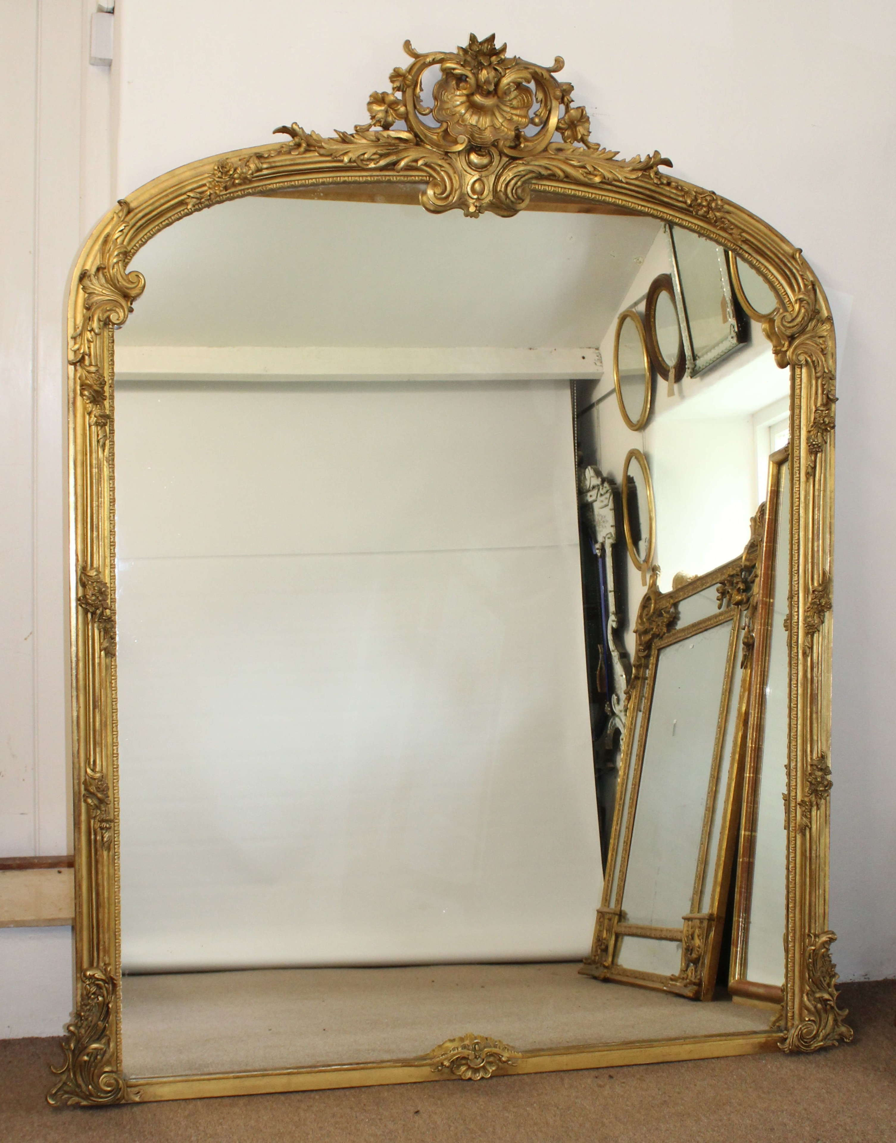 Very Large And Wide Arched Antique Overmantel In Antique French Mirrors