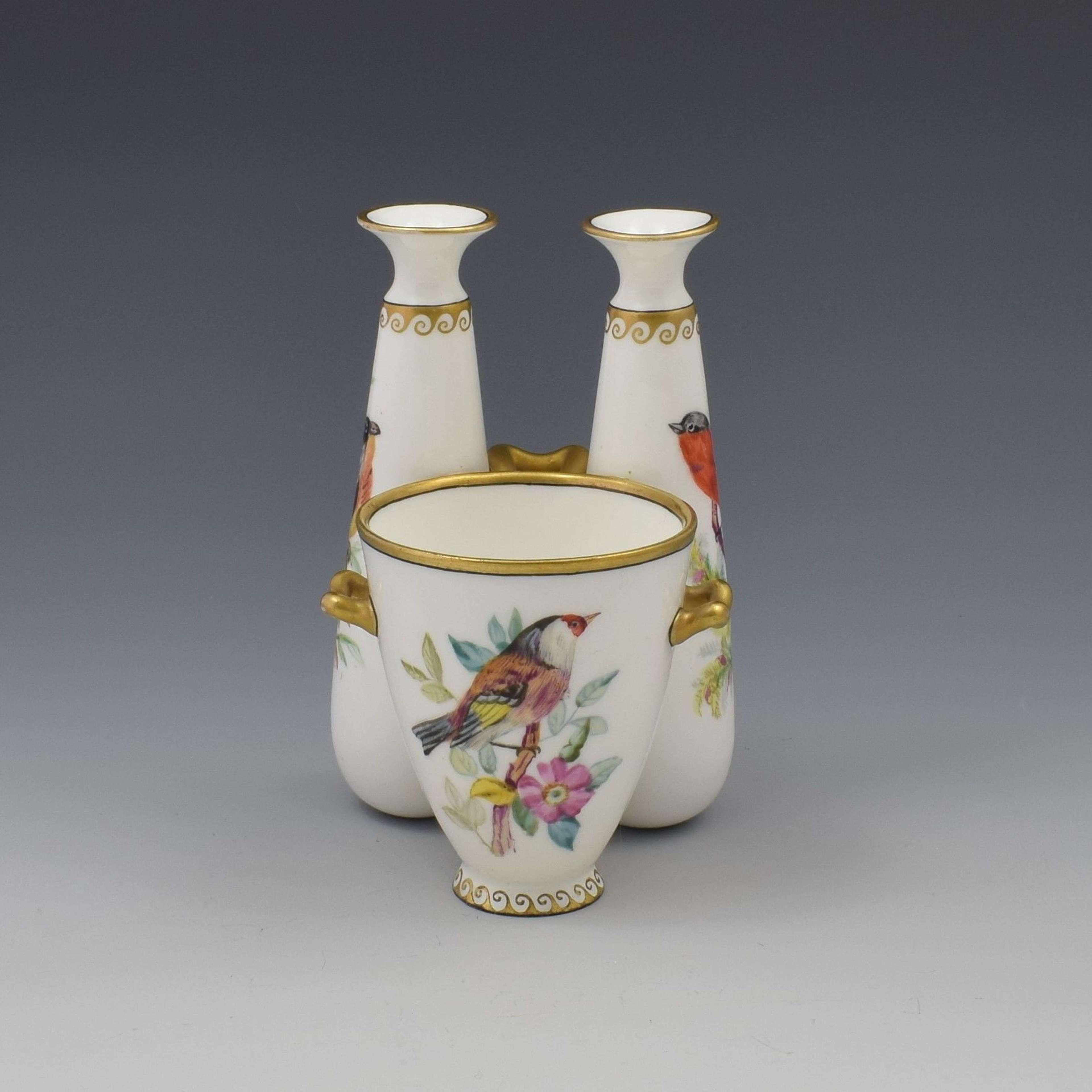 Unusual Royal Worcester Triple 3-In-1 Ornithological Bird Vase