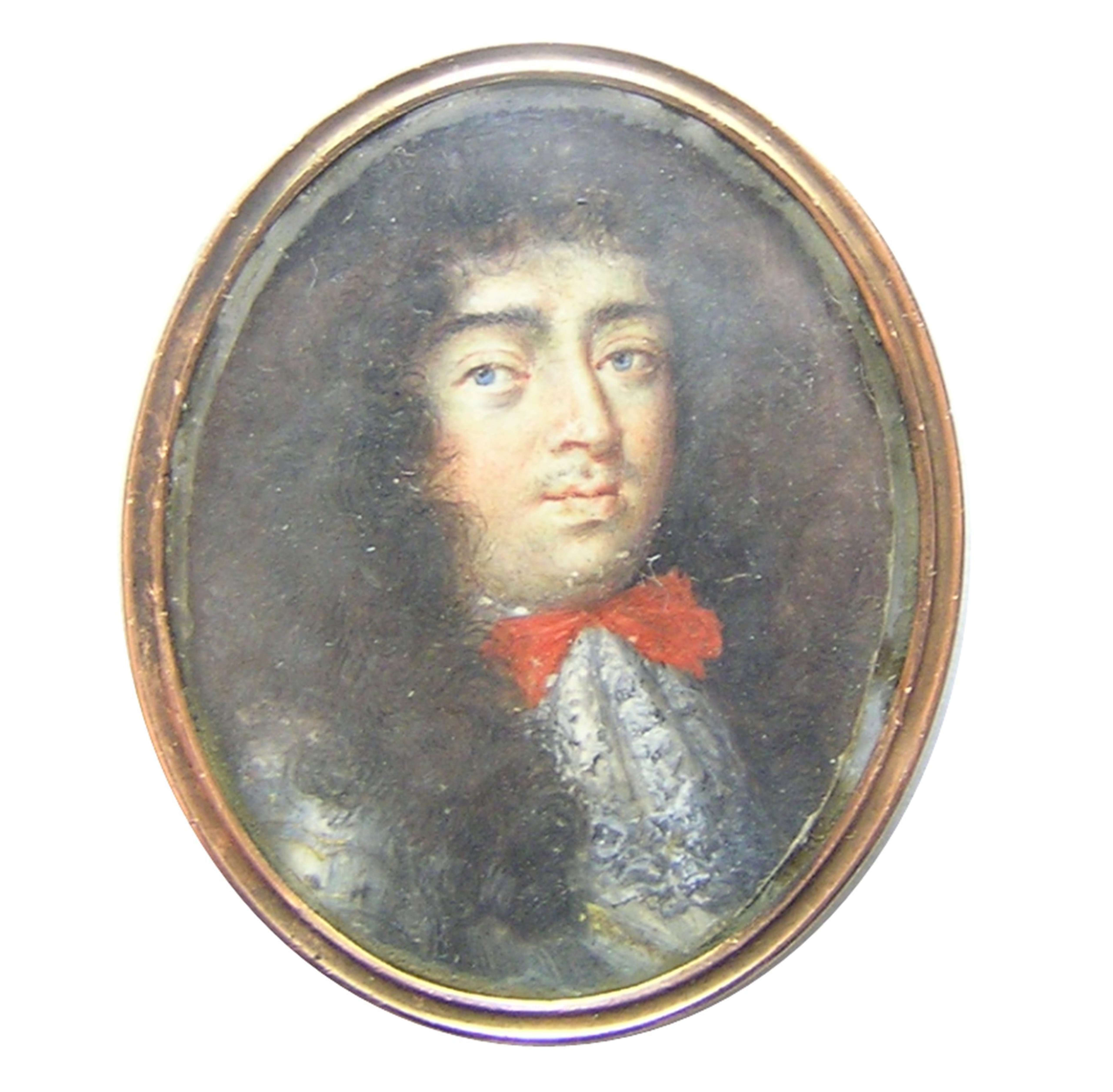 Portrait miniature on vellum and watercolours of King Louis XIV