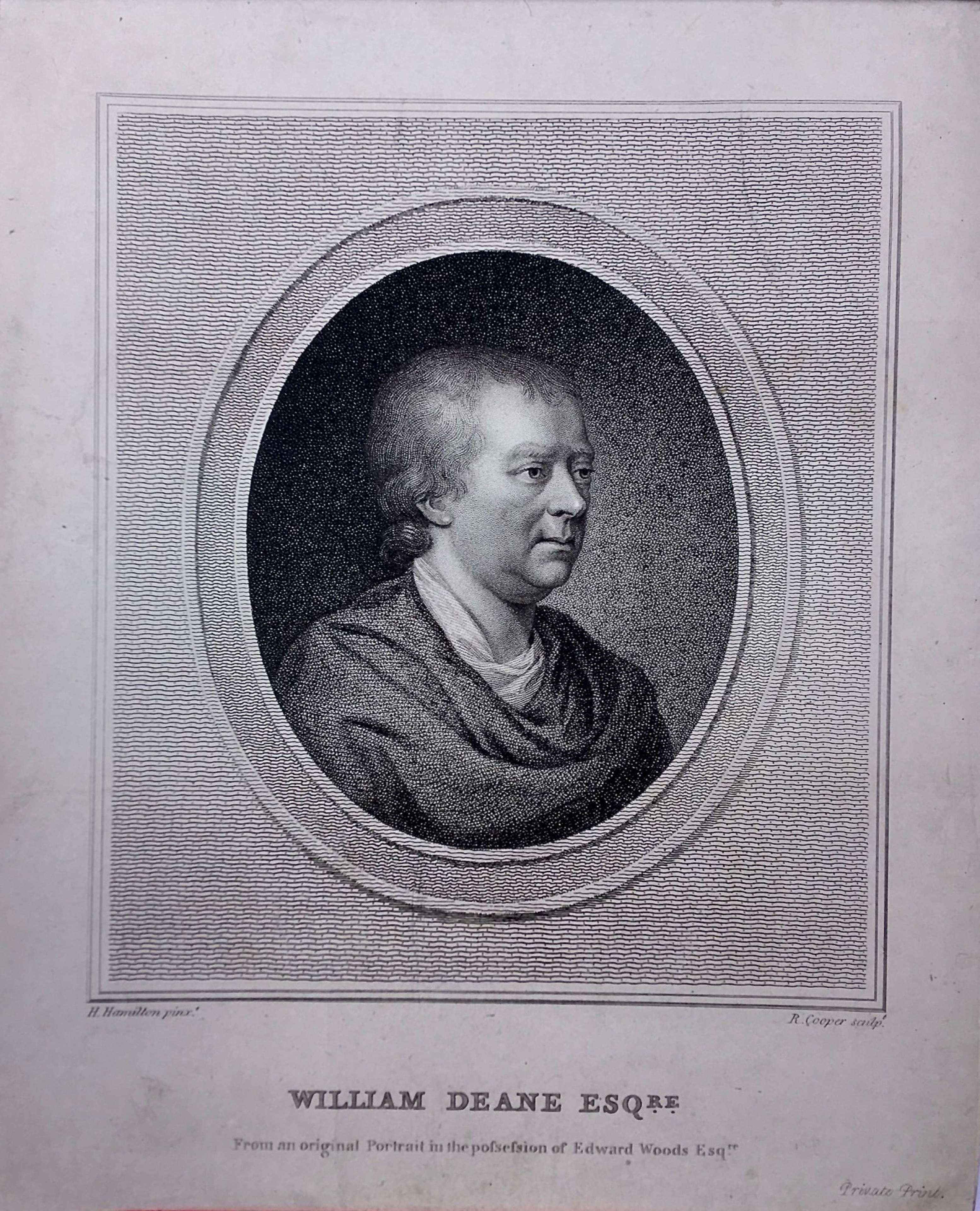 A rare privately issued portrait engraving of William Deane (d. 1793)