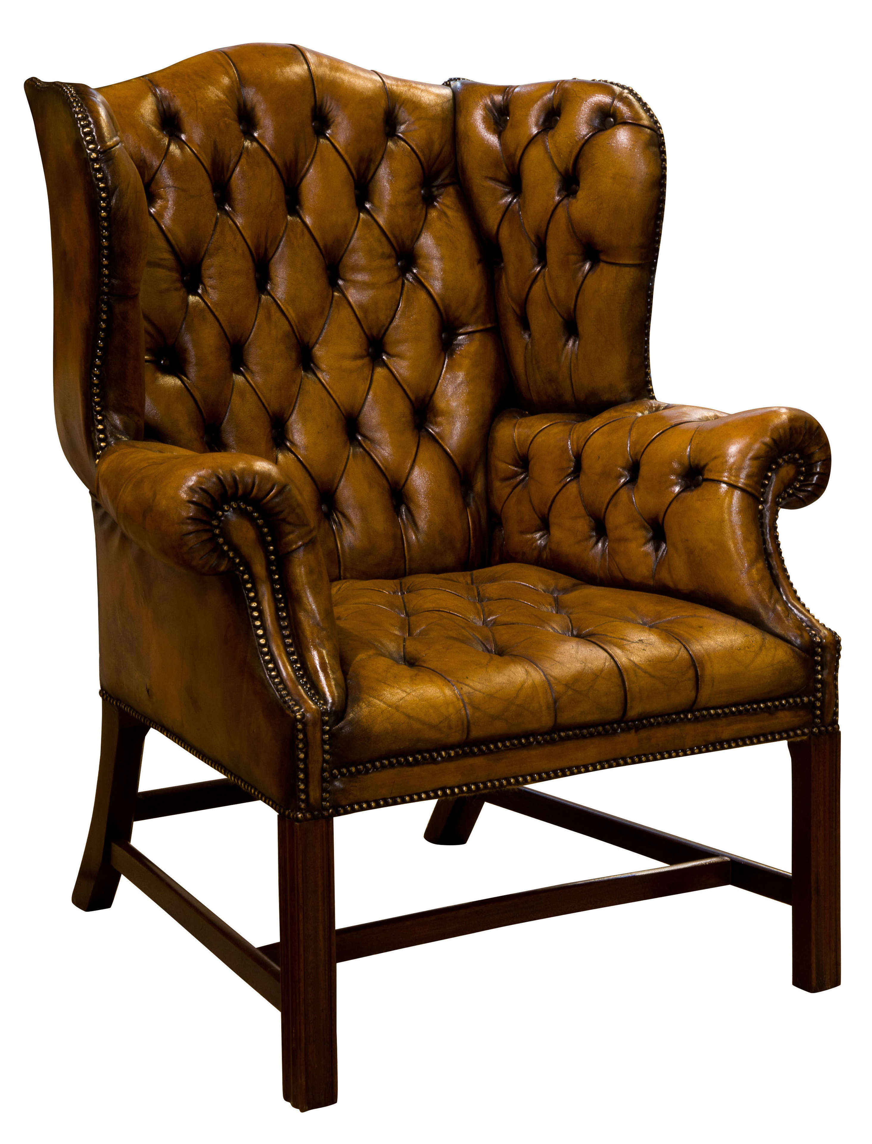 18thc Style Leather Wing Chair c1900