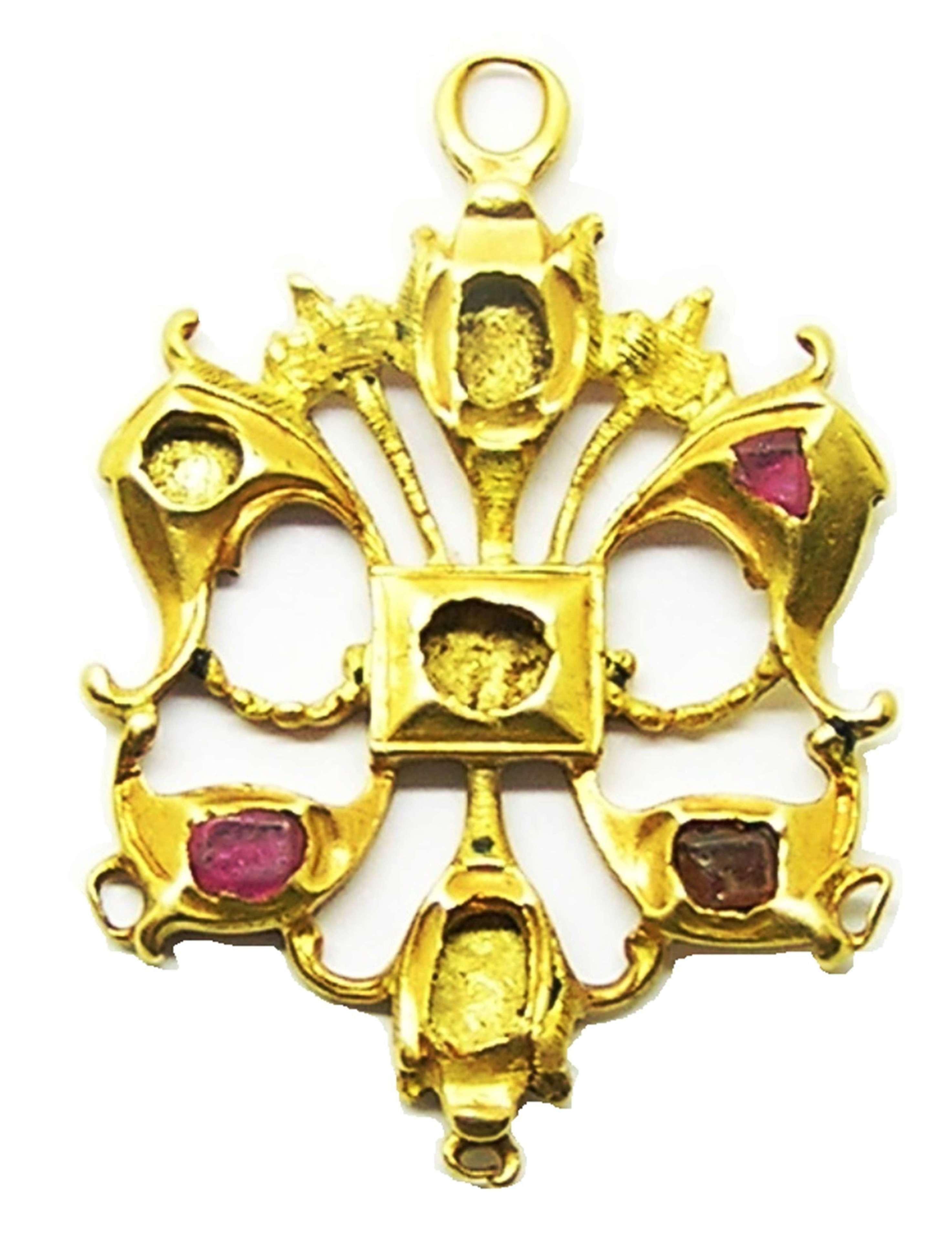 RARE Renaissance gold and ruby pendant