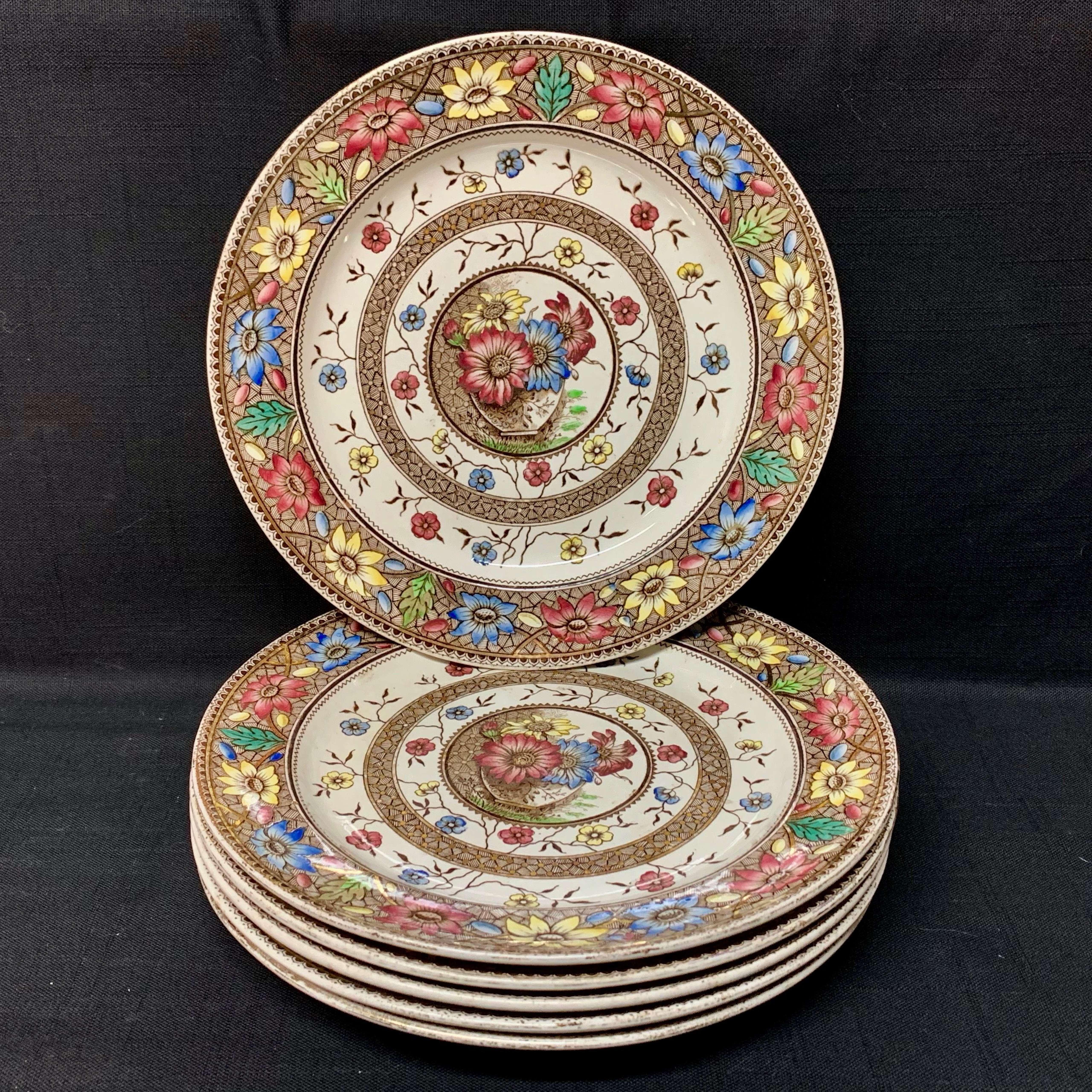 6 Antique Palmyra Brown Transferware Plates ~ SUNFLOWERS 1883