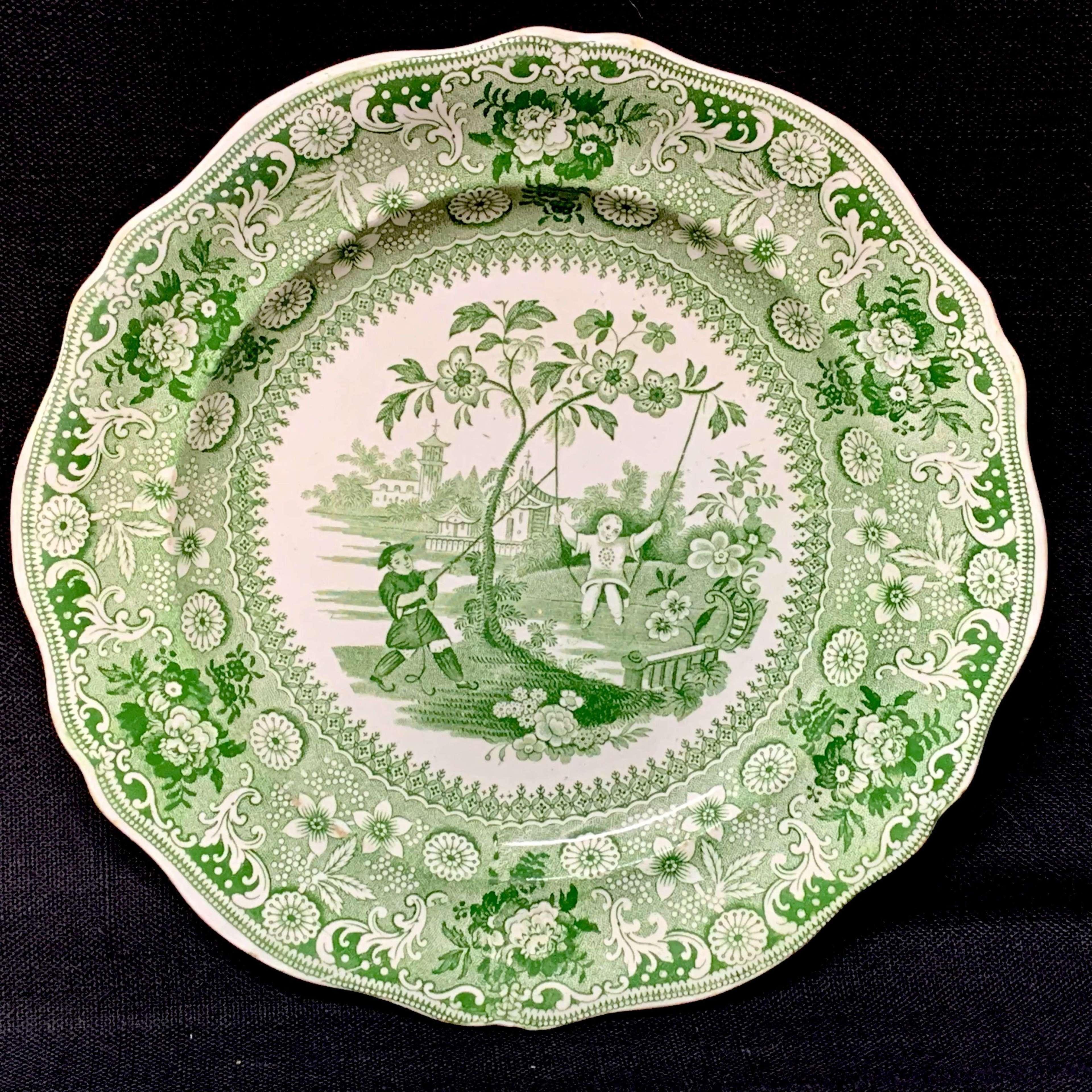 Davenport Staffordshire Green Transferware Plate Chinese Pastimes 1840