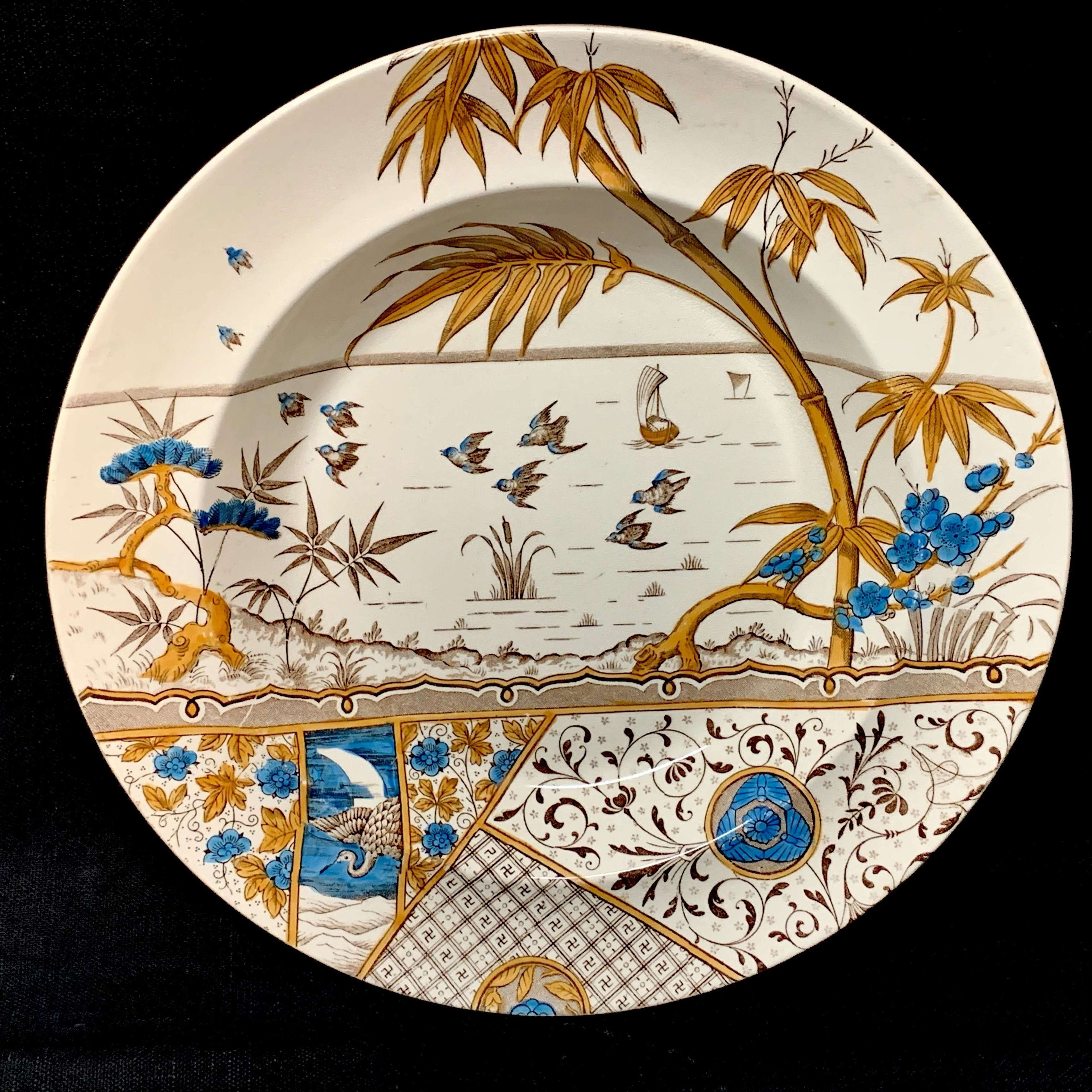 Aesthetic Movement Polychrome Cream Soup Plate ~ MELBOURNE 1883