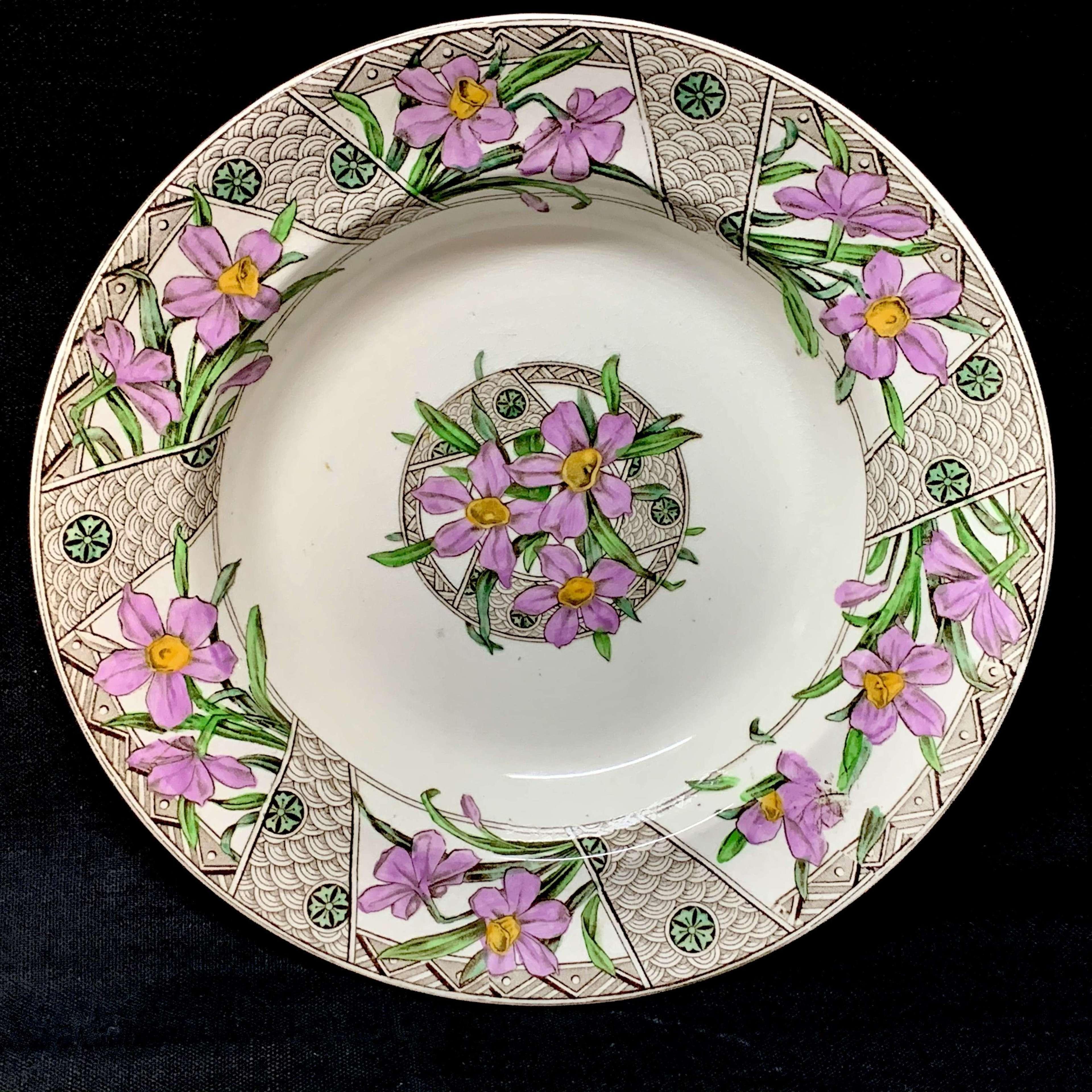 Polychrome Transfer Printed Victorian Soup Plate ~ GROSVENOR 1883