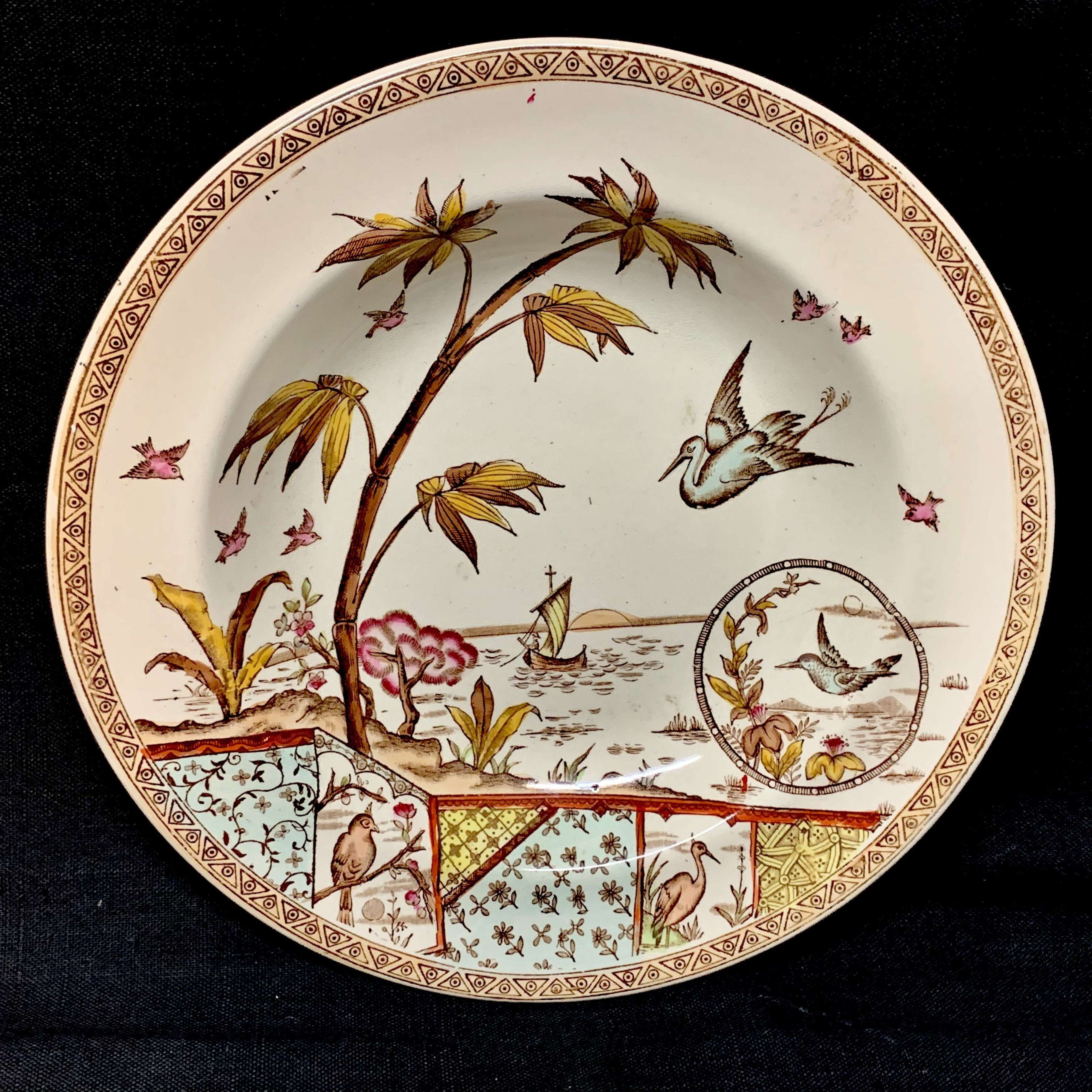 Polychrome Transfer Printed Victorian Cream Plate ~ TONQUIN 1883