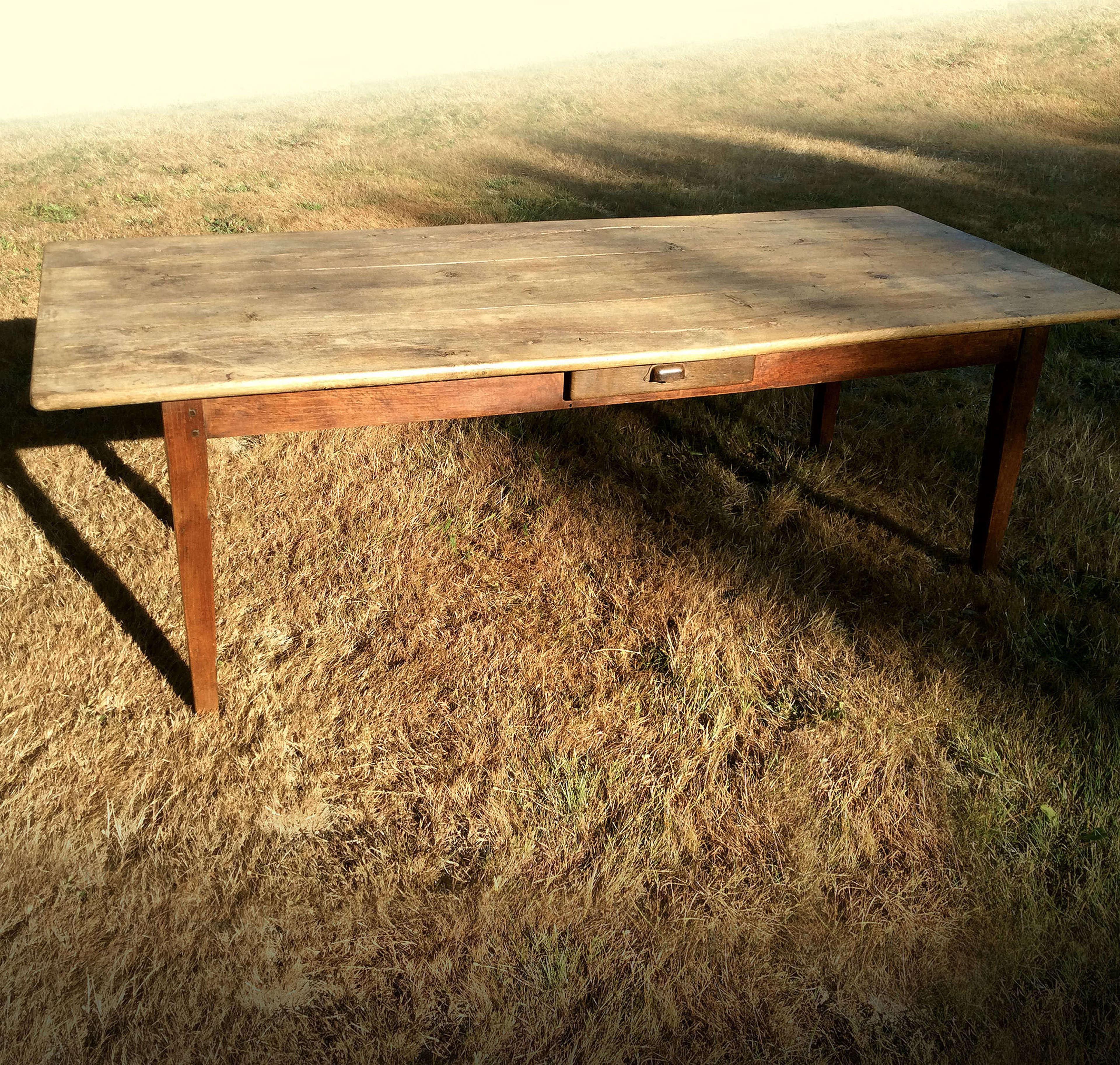 Large 19th Century weathered oak farmhouse table