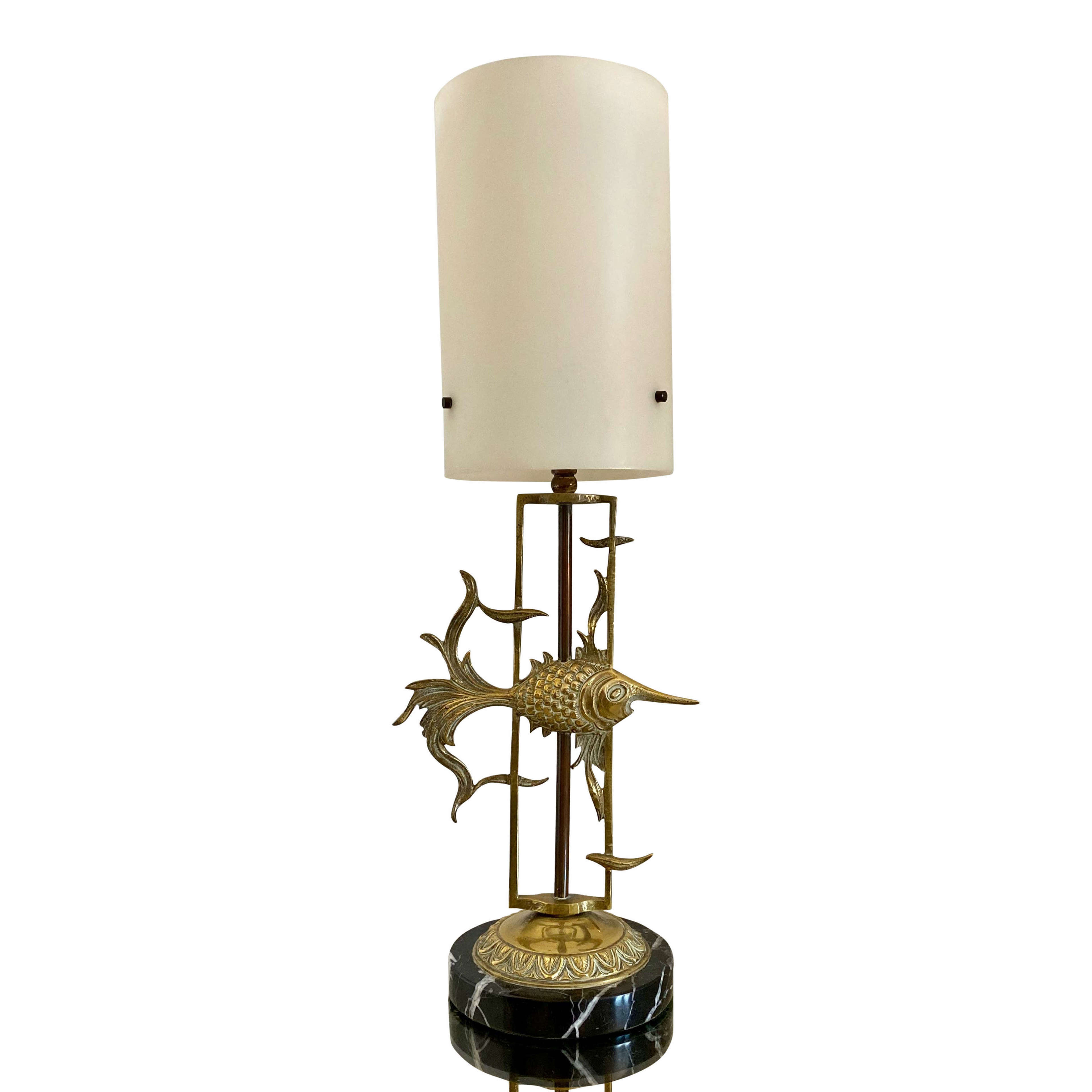 1950s Brass Fish With Marble Base Table Lamp In Antique Table Lamps