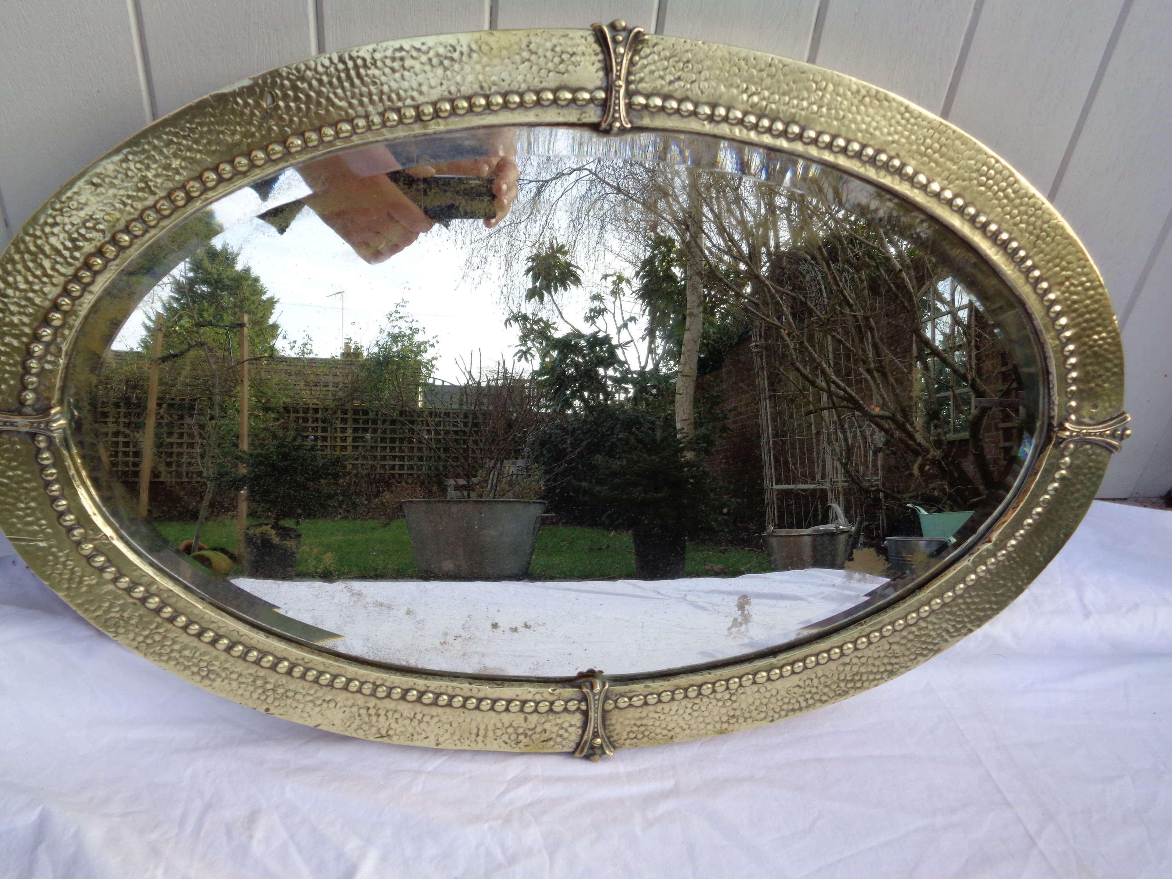 Arts & Crafts Brass Framed Oval Mirror