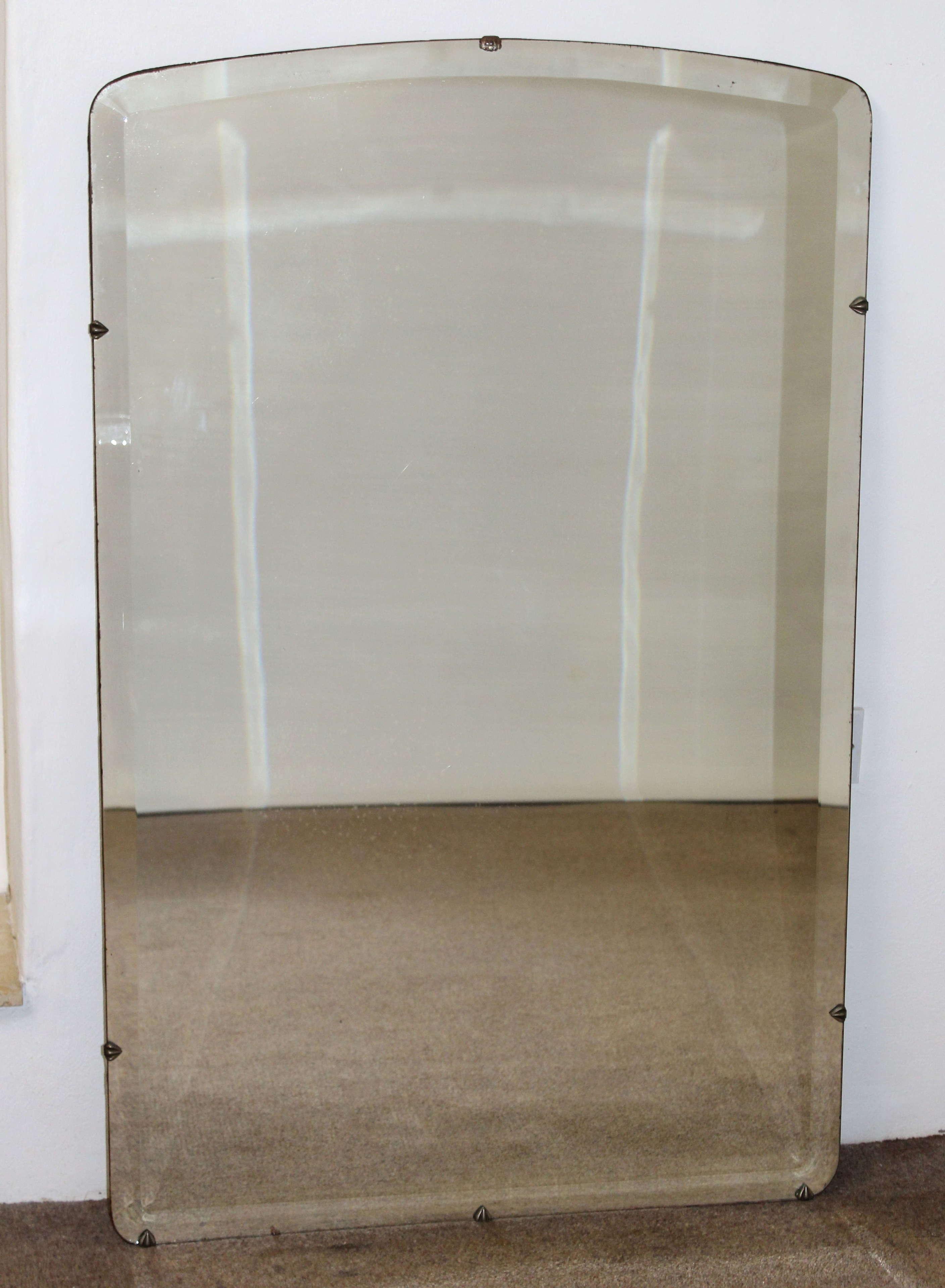Large 1940s frameless bevelled mirror