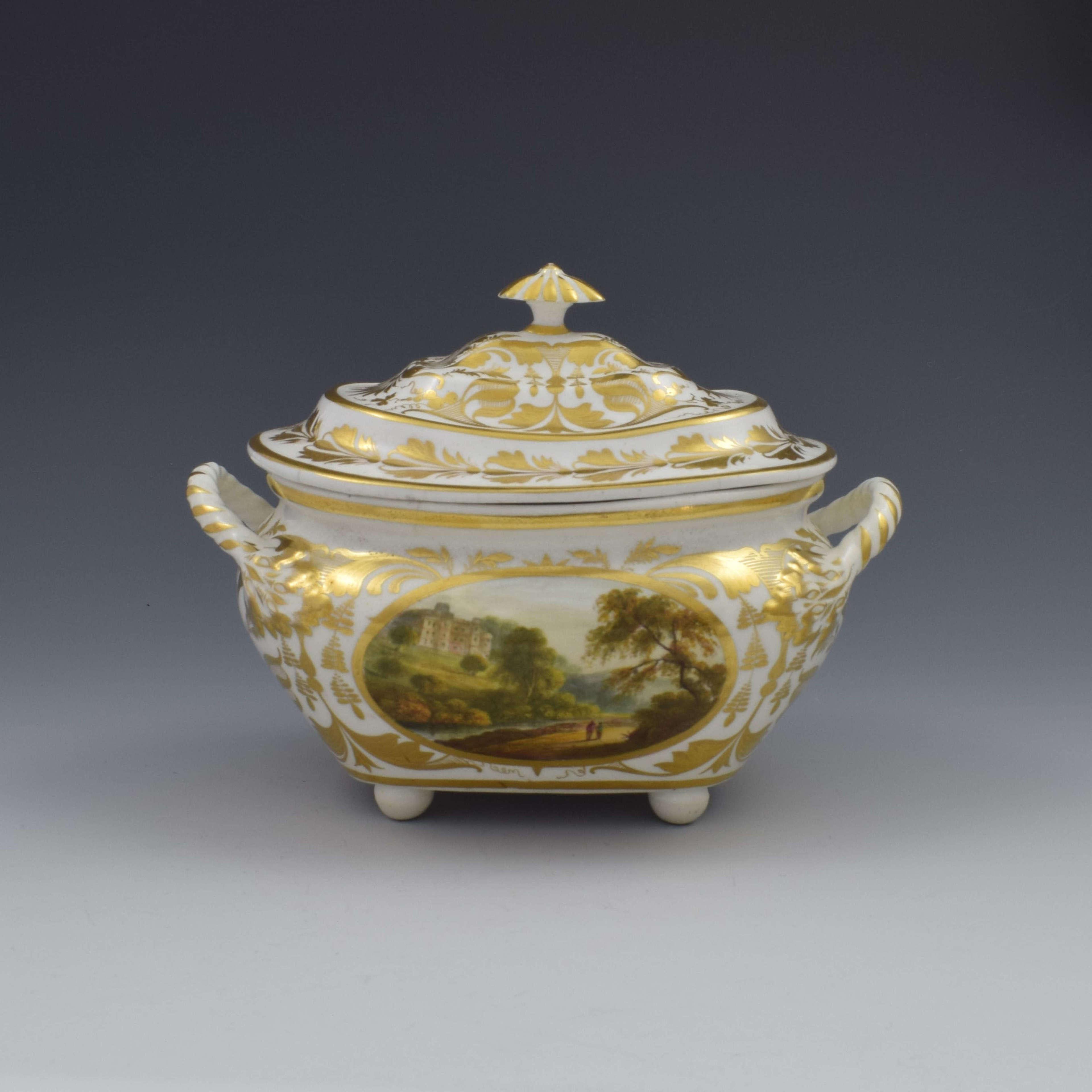 Derby Porcelain Sucrier & Cover Landscapes Berkshire & Wales c.1815