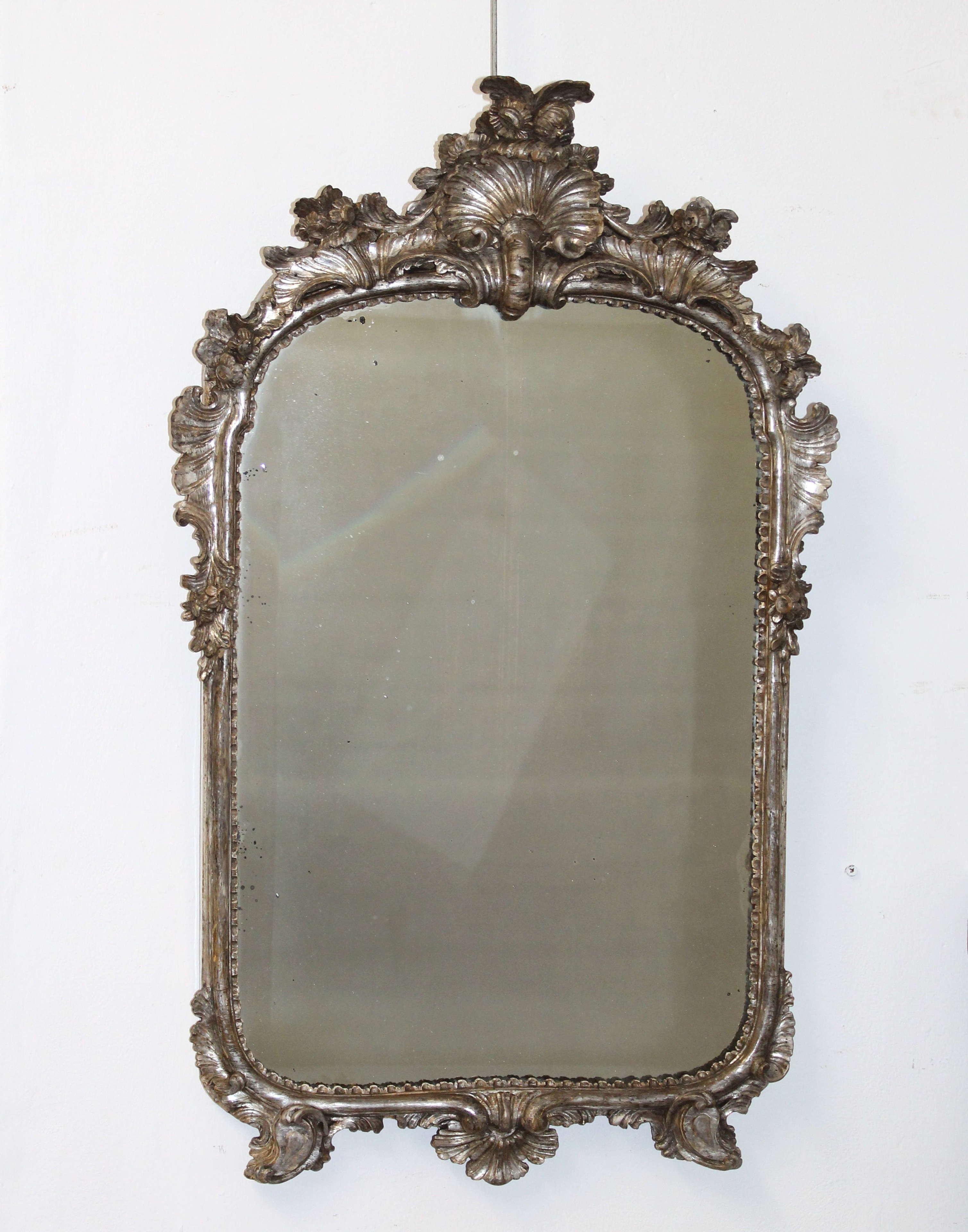 18th century silver leafed Italian mirror
