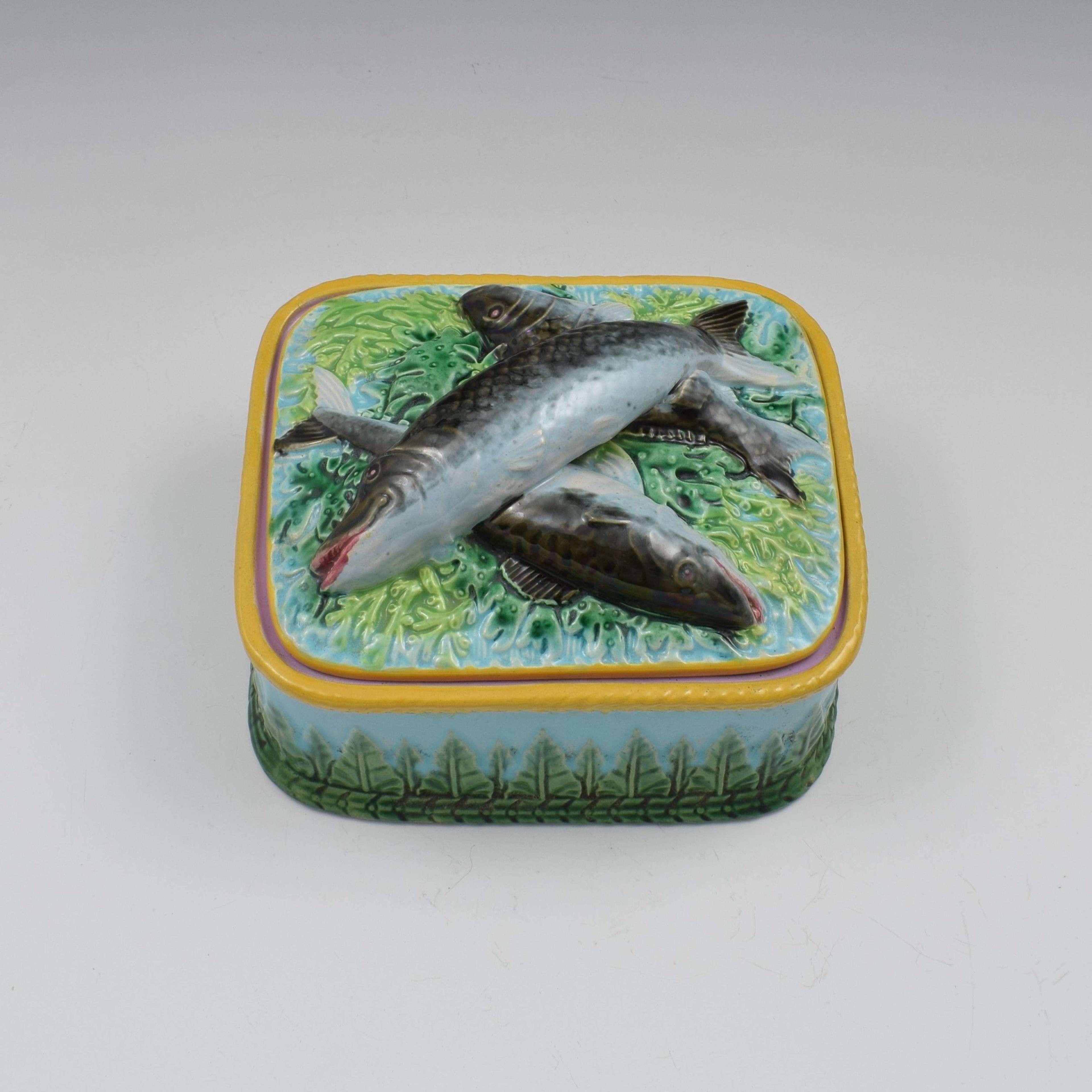 Victorian George Jones Majolica Sardine Box Turquoise Ground