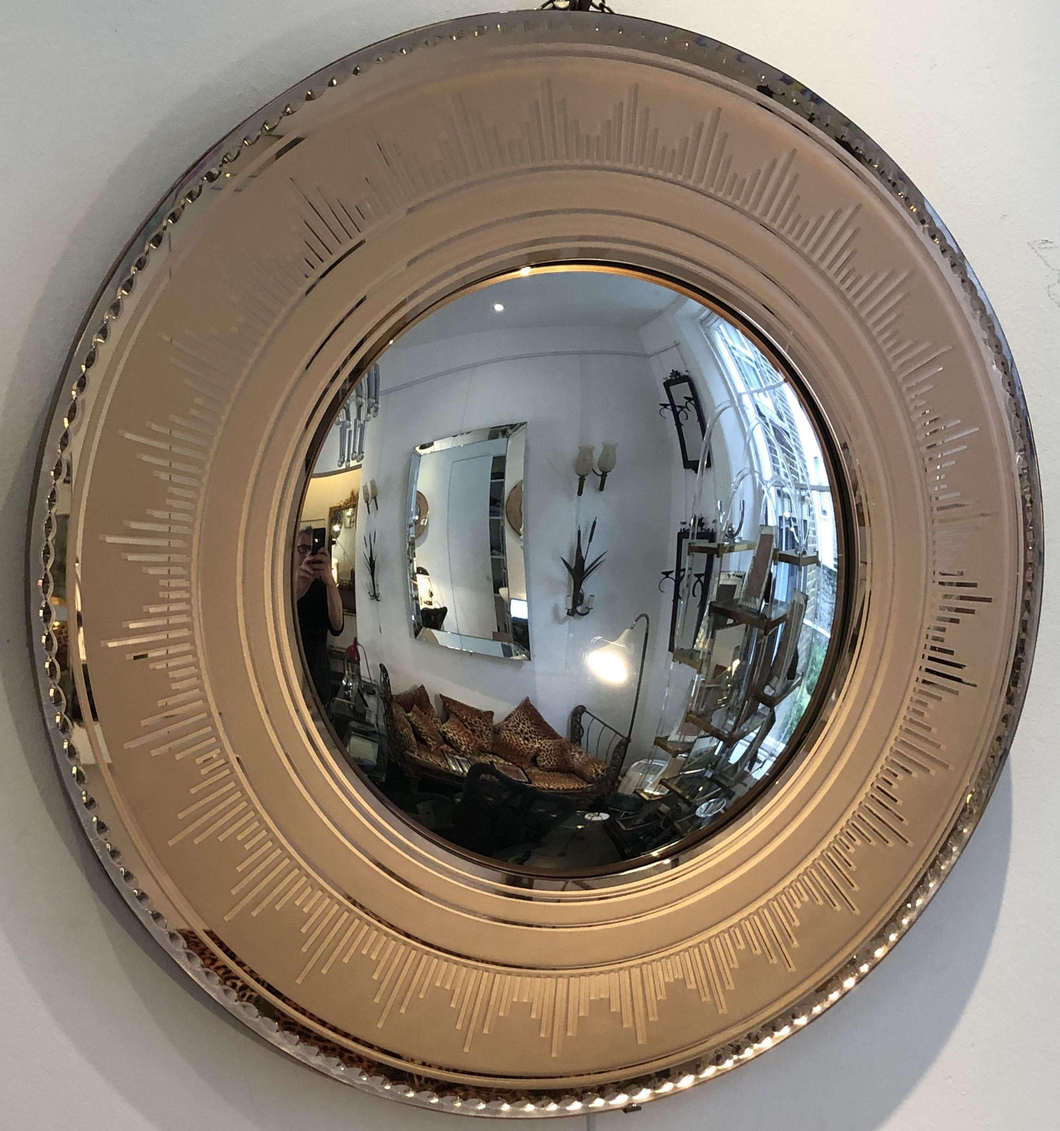 Round Art Deco Convex Mirror