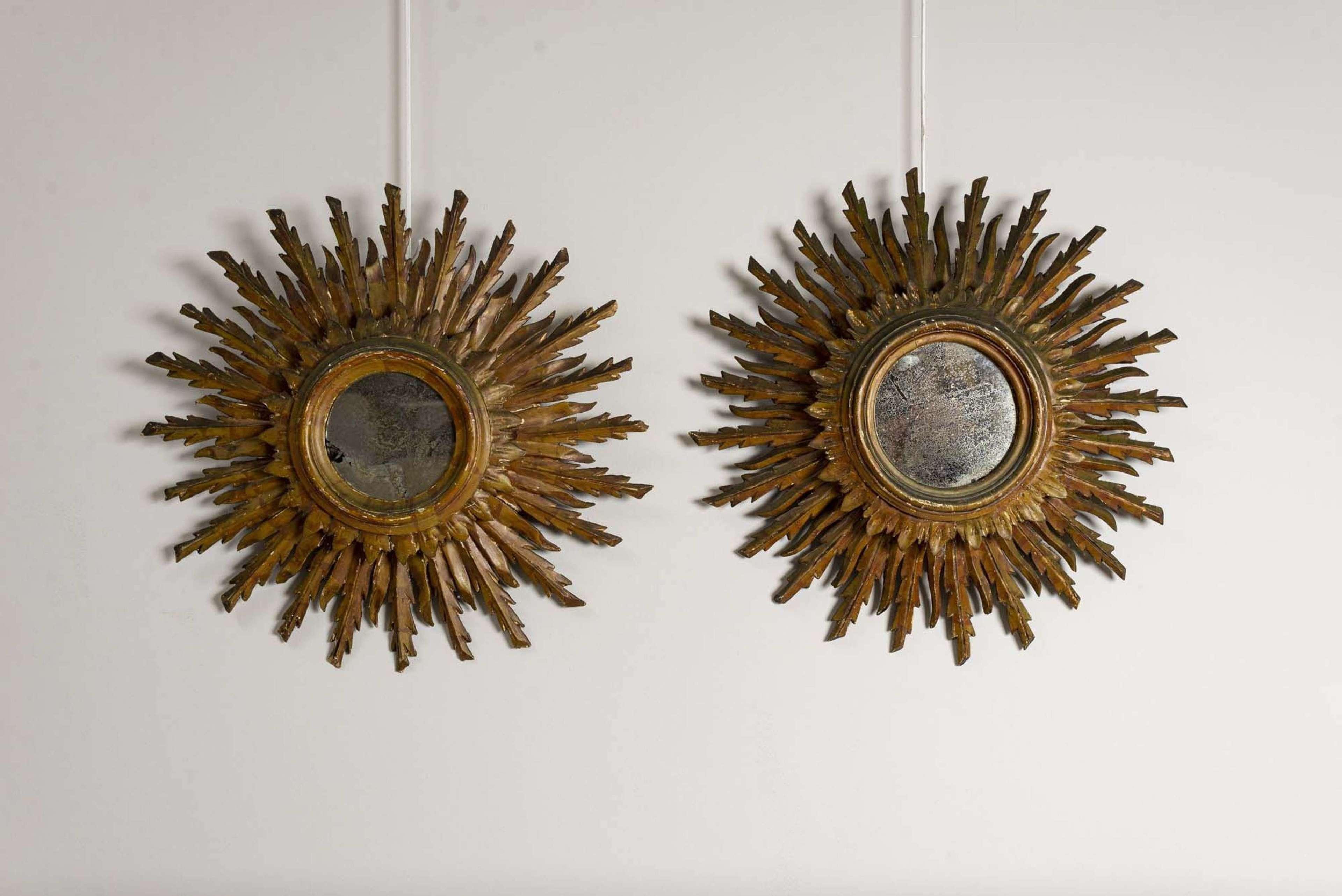 1940's pair of Italian double gilt sunburst mirrors