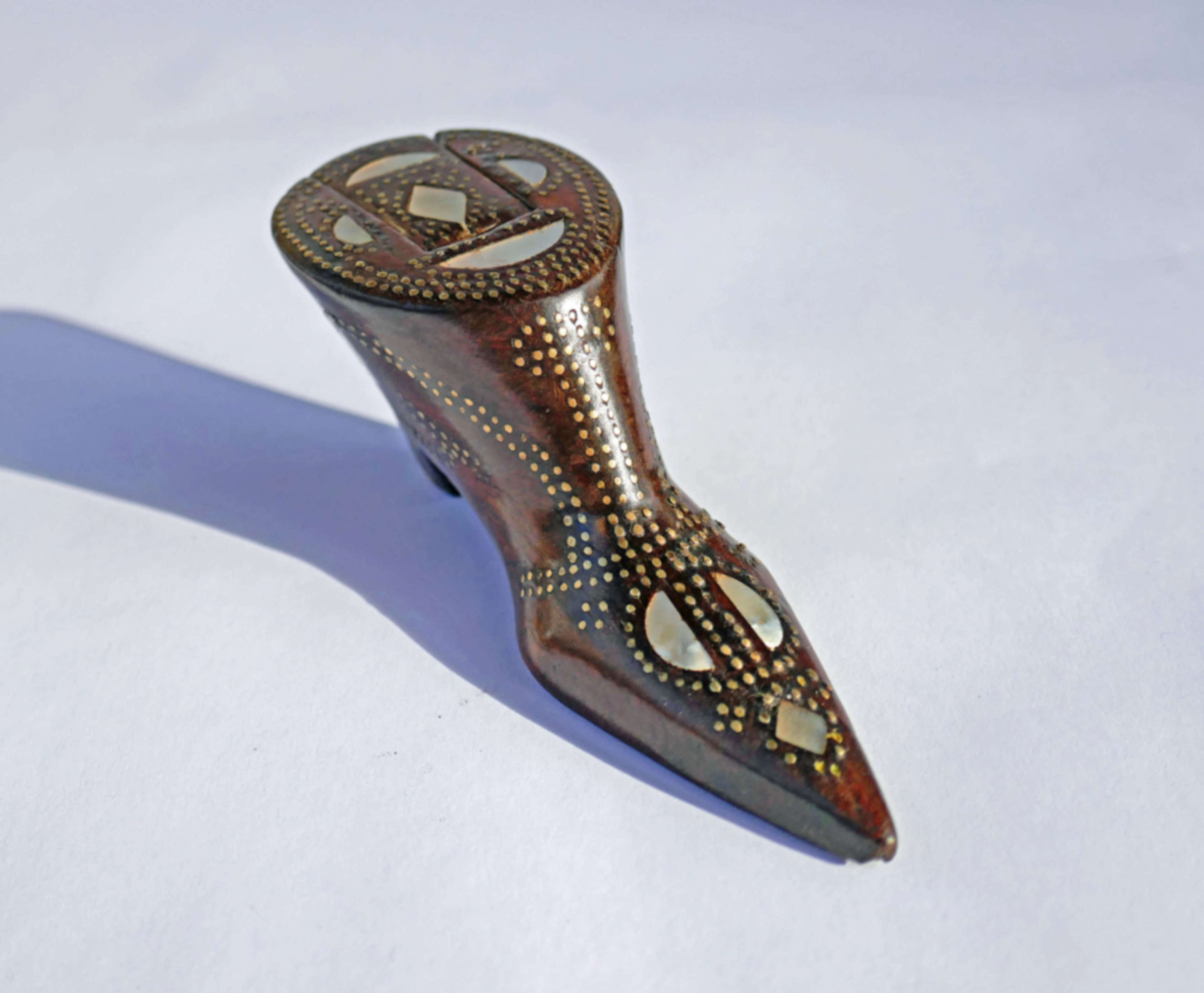 Antique Treen 19thc Mahogany Snuff Shoe Inlaid With Mother Of Pearl.
