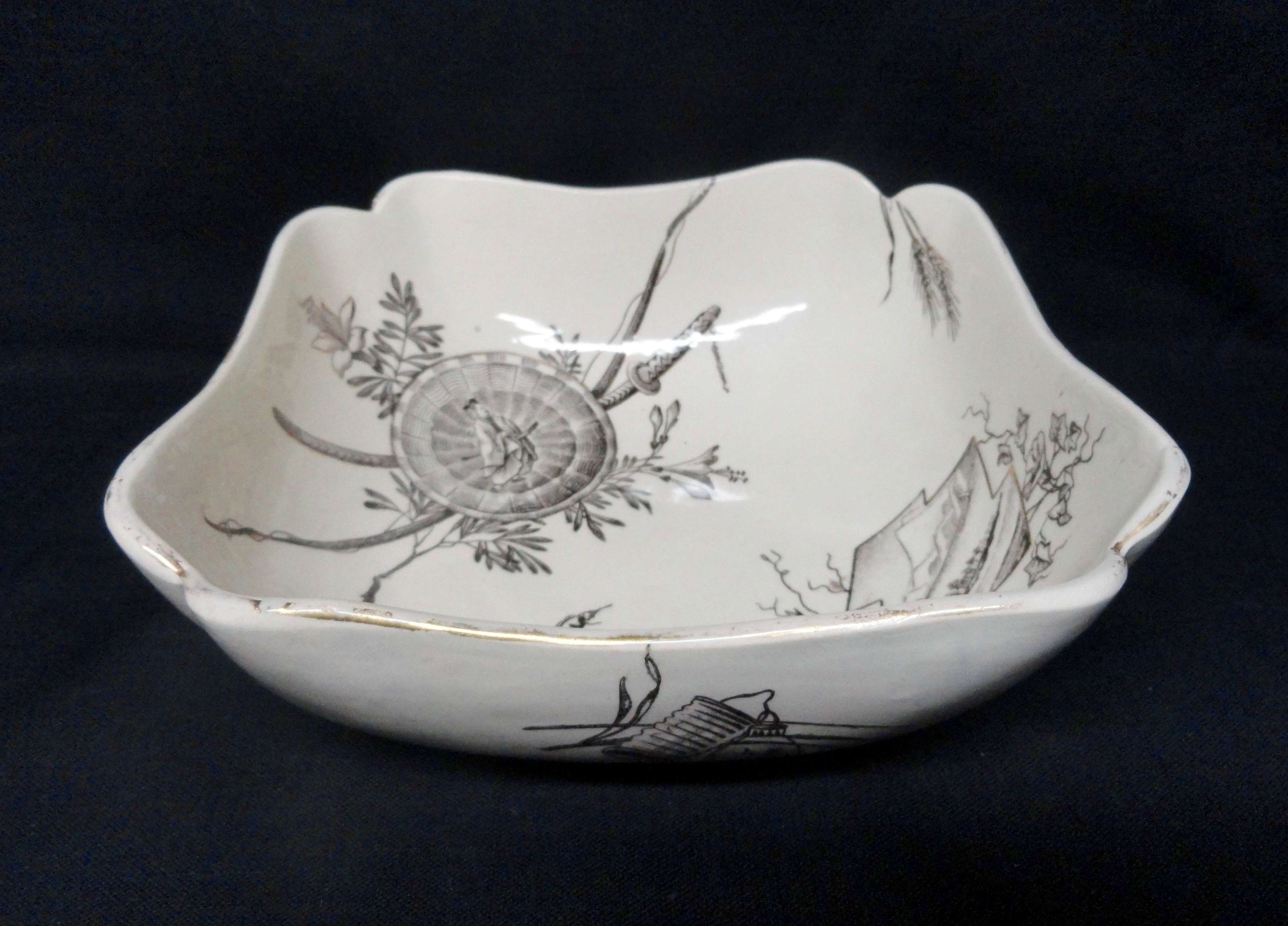 Antique English Transferware Centerpiece Fruit Bowl ~ ORIENTAL 1882